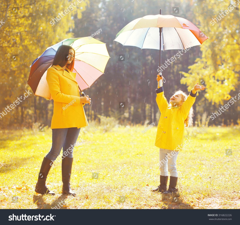 Happy Family Umbrellas Sunny Autumn Rainy Stock Photo