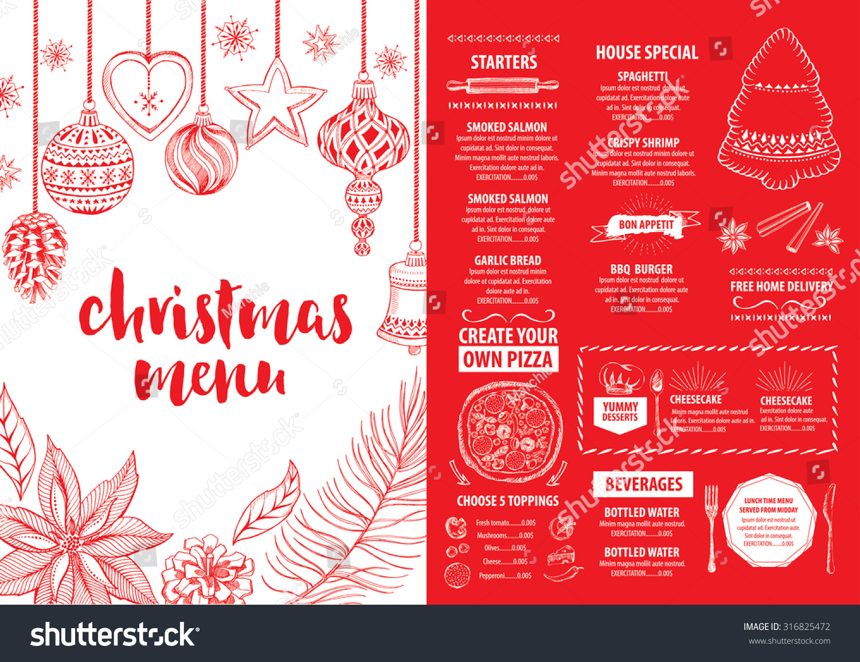 Christmas Party Invitation Restaurant Menu Design Stock Vector ...