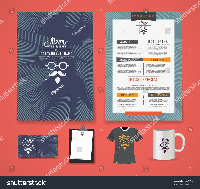 restaurant menus template business cards shirts stock vector
