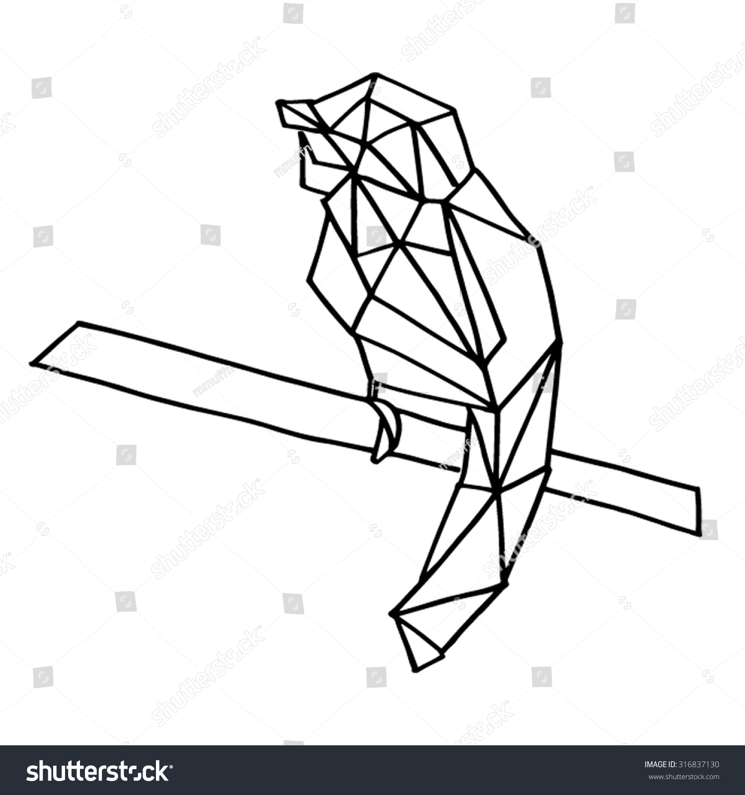 bird geometric animal life nature shape stock vector (royalty free