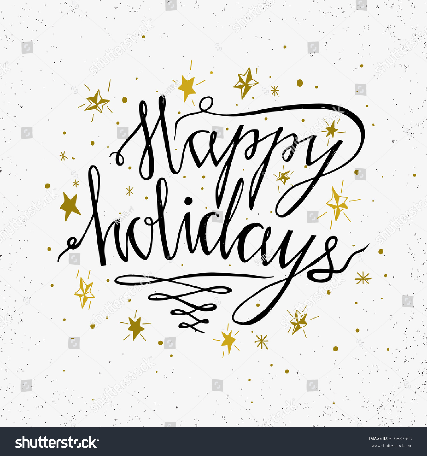 Happy Holidays Inspiration: Hand Drawn Typography Poster Happy Holidays Stock Vector