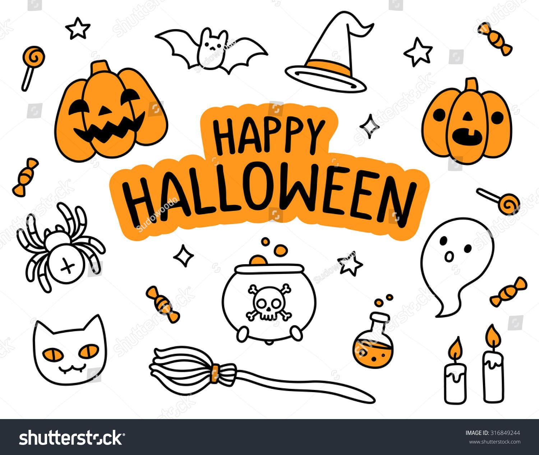 Halloween Hand Drawn Doodle Set Happy Stock Vector Royalty Free