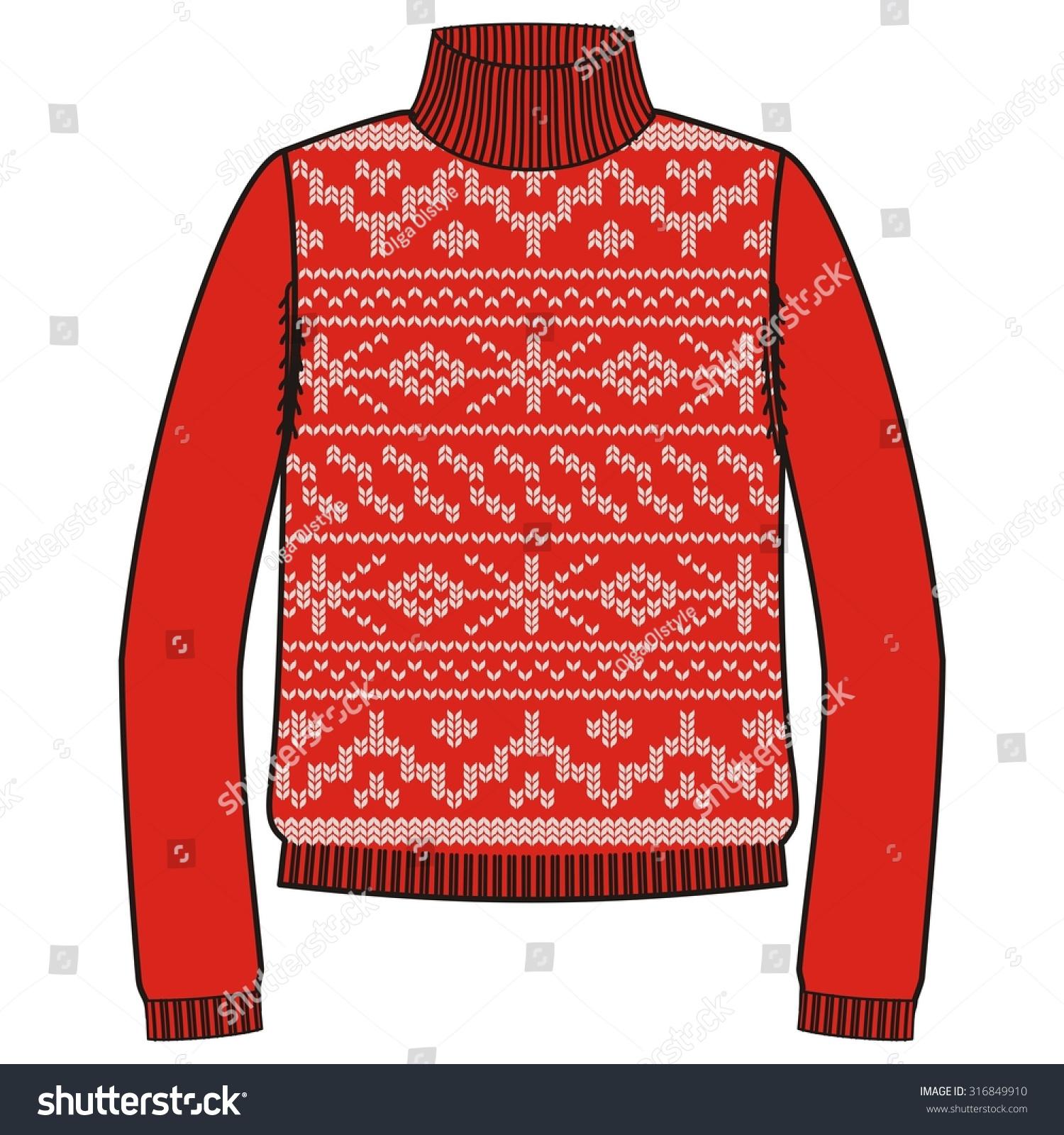 Winter Warm Sweater Handmade Svitshot Jumper Stock Vector ...