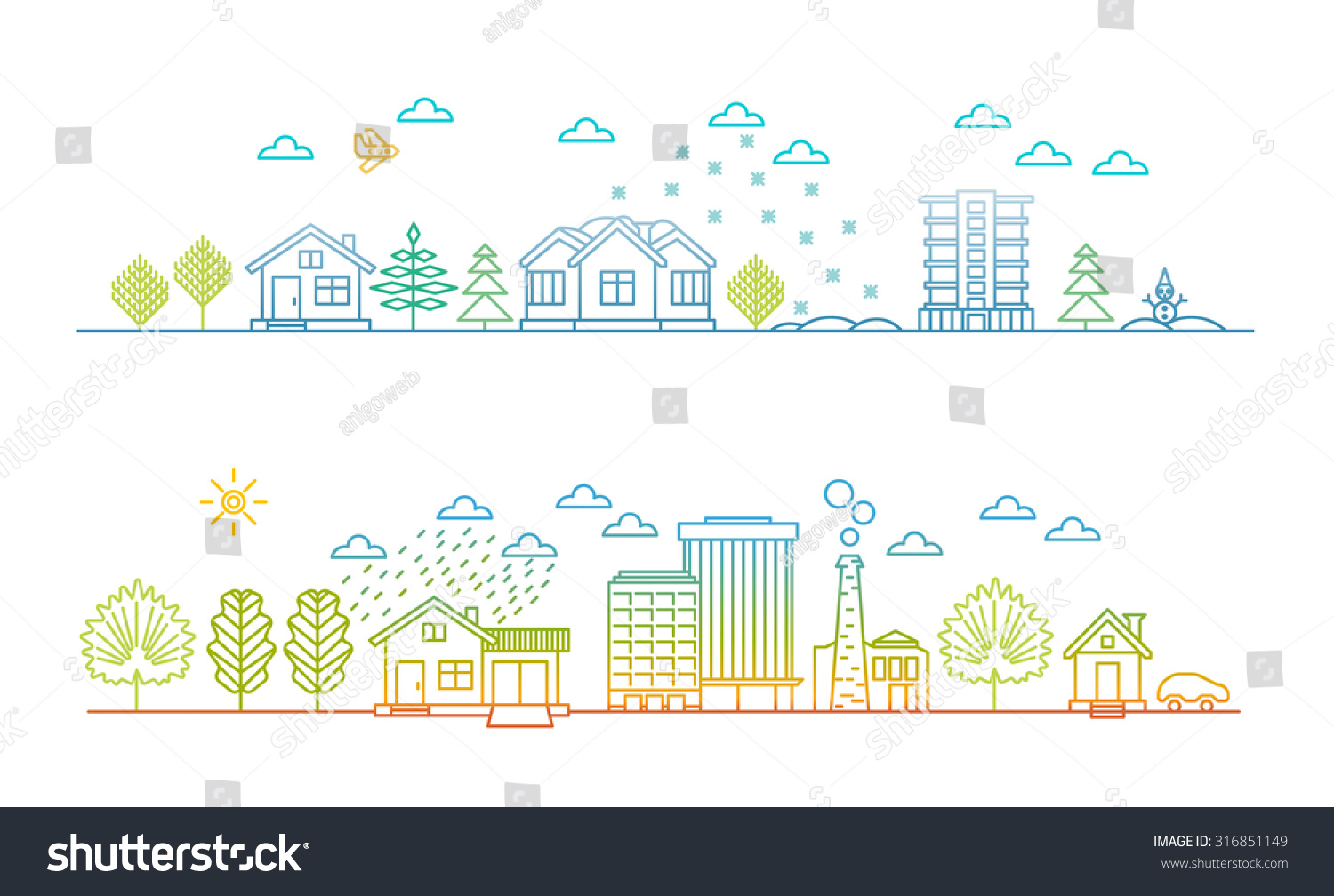 Linear style city illustration cityscape at Christmas and in summer day
