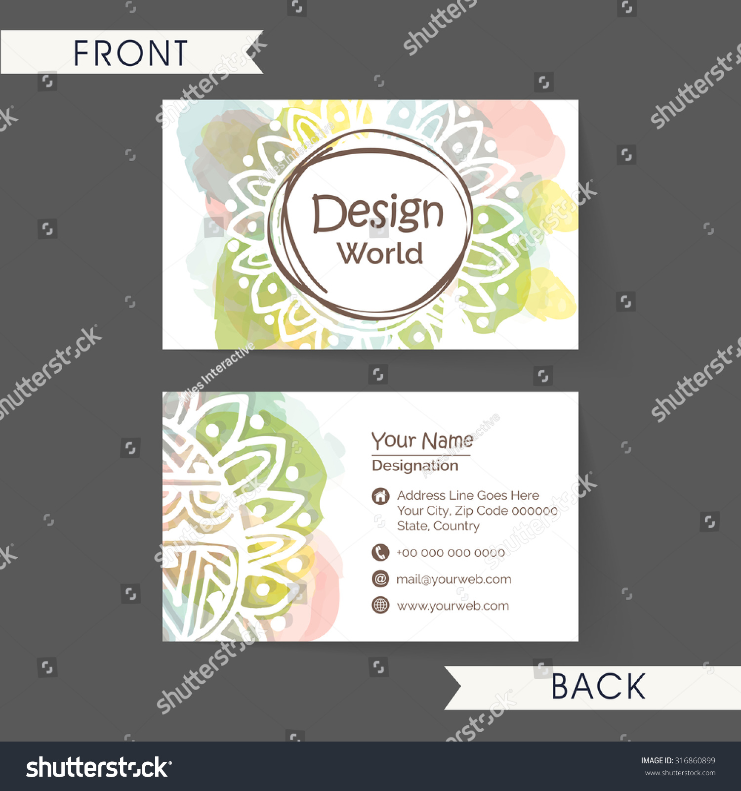 Beautiful floral decorated horizontal business card stock vector beautiful floral decorated horizontal business card name card or visiting card set in multiple magicingreecefo Images