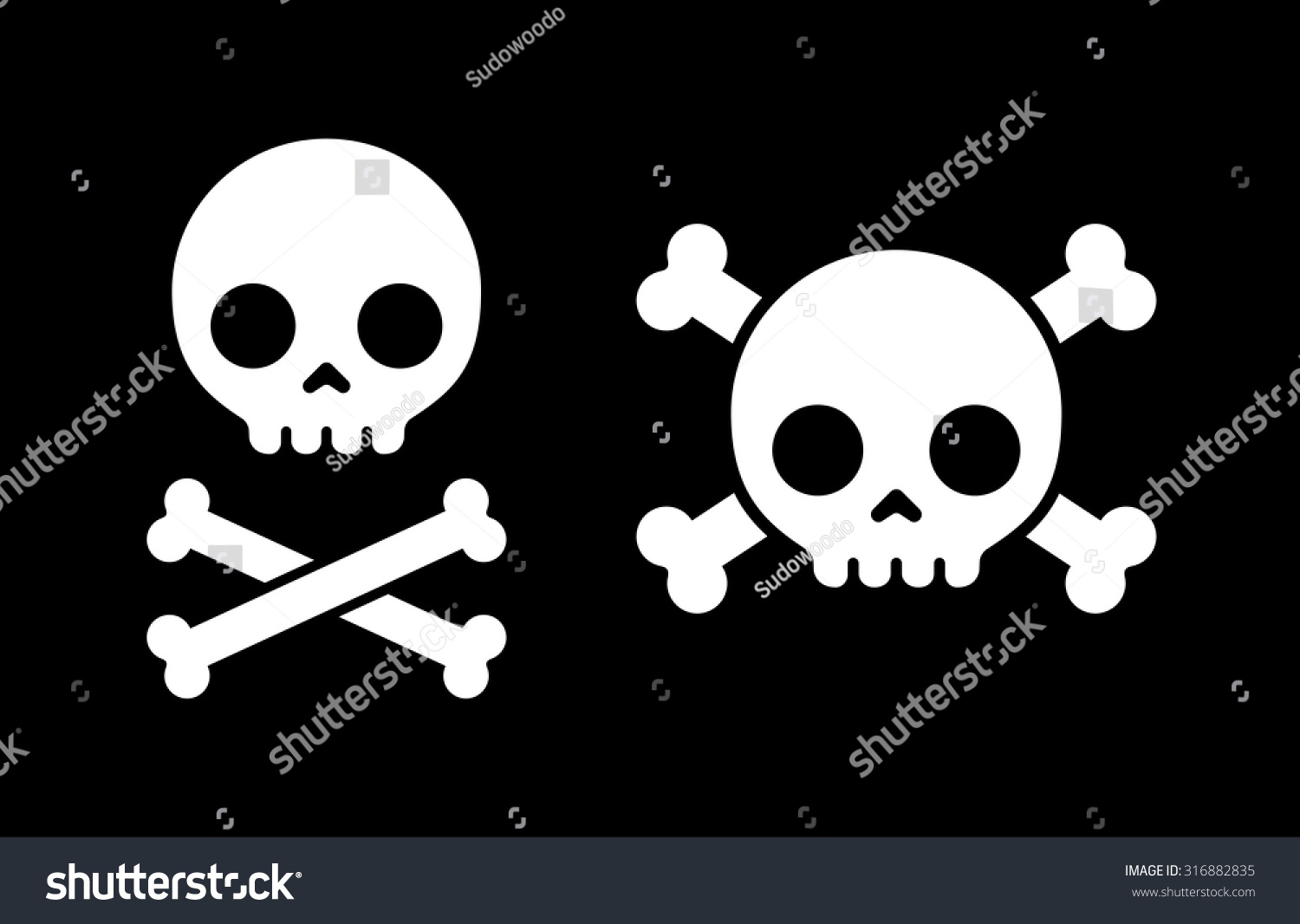 simple cartoon skull crossbones icon two stock vector