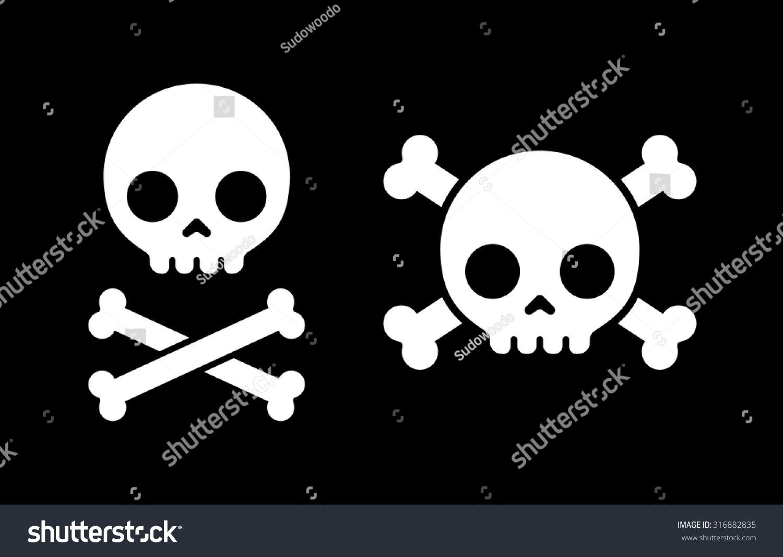 simple cartoon skull crossbones icon two stock vector