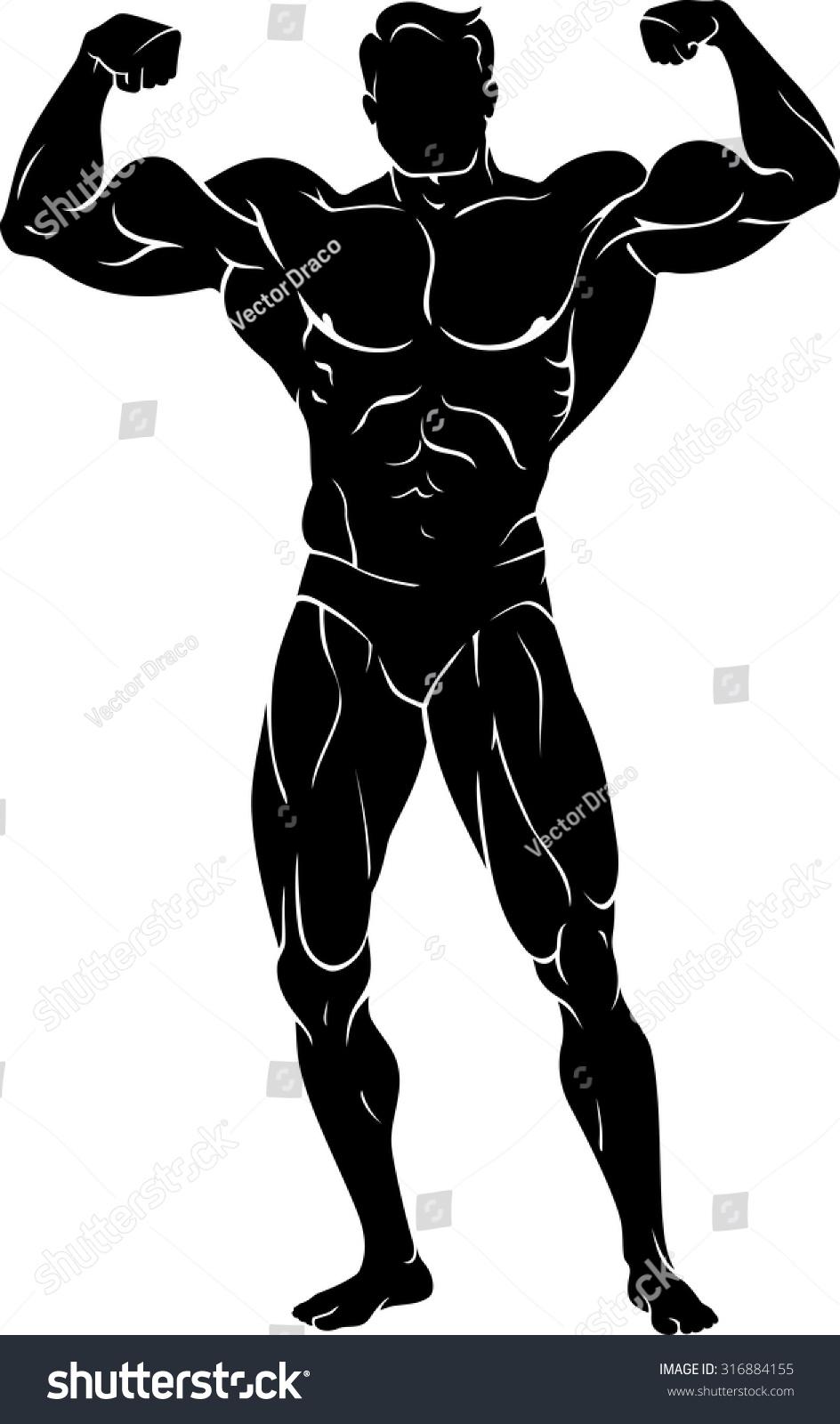 Body Builder Front Flexing Muscles Stock Vector 316884155