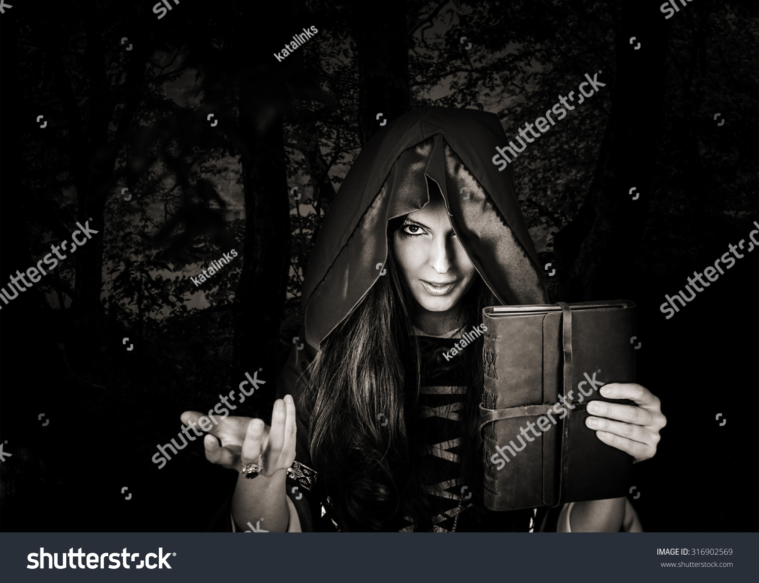Vintage witch halloween photography stock