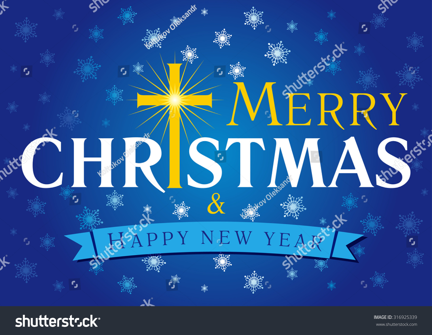 Merry christmas happy new year greetings stock vector 316925339 merry christmas a happy new year greetings celebrating congratulating decorative traditional blue card with kristyandbryce Gallery
