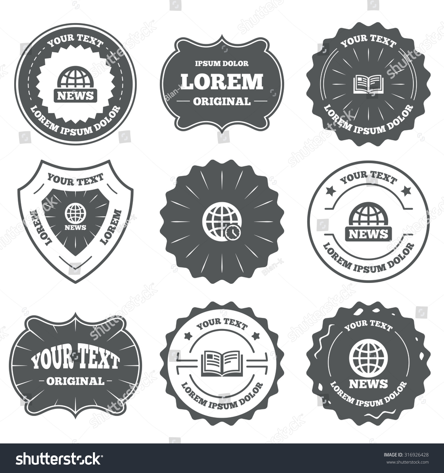 vintage emblems labels news icons world stock vector  vintage emblems labels news icons world globe symbols open book sign