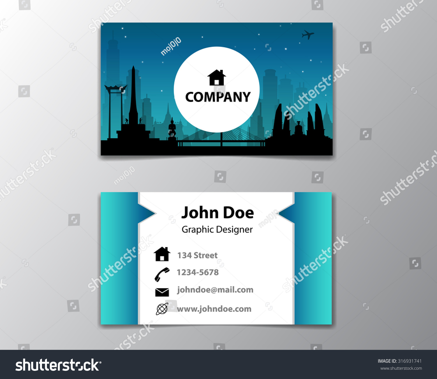 Modern Simple Business Card Template With Cityscape At Night Background