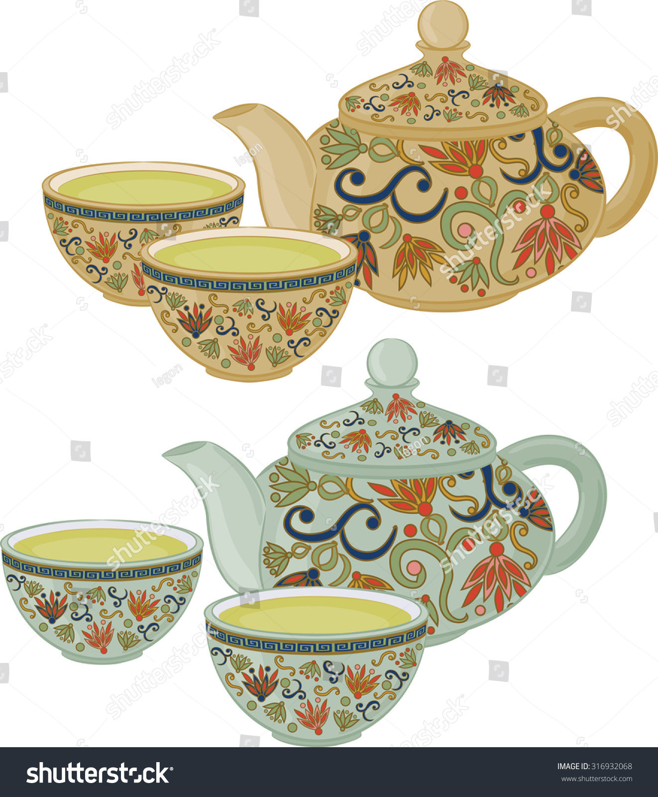 Teapot Small Cups Chinese Green Tea Stock Vector 316932068 ...