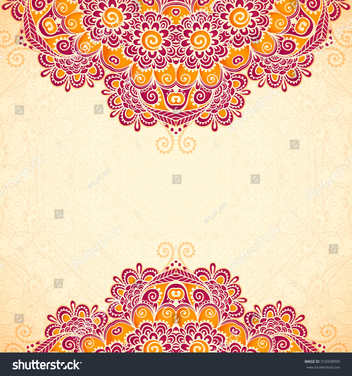 Ornate vintage vector background in mehndi style royalty free stock - Vector Vintage Flowers Ethnic Background In Indian Mehndi Style