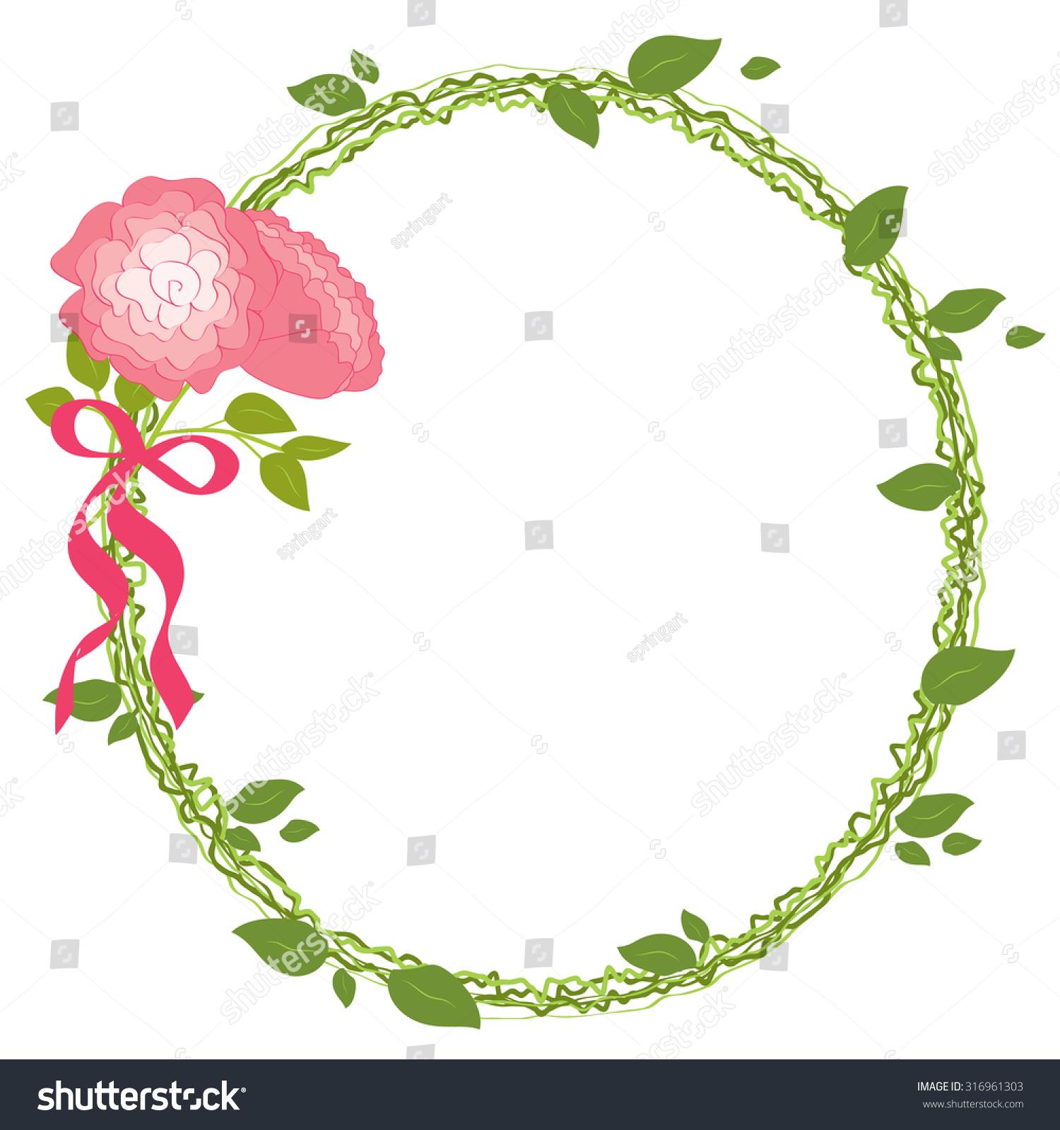 Romantic Wreath Greenery Bouquet Flowers Roses Stock Vector ...