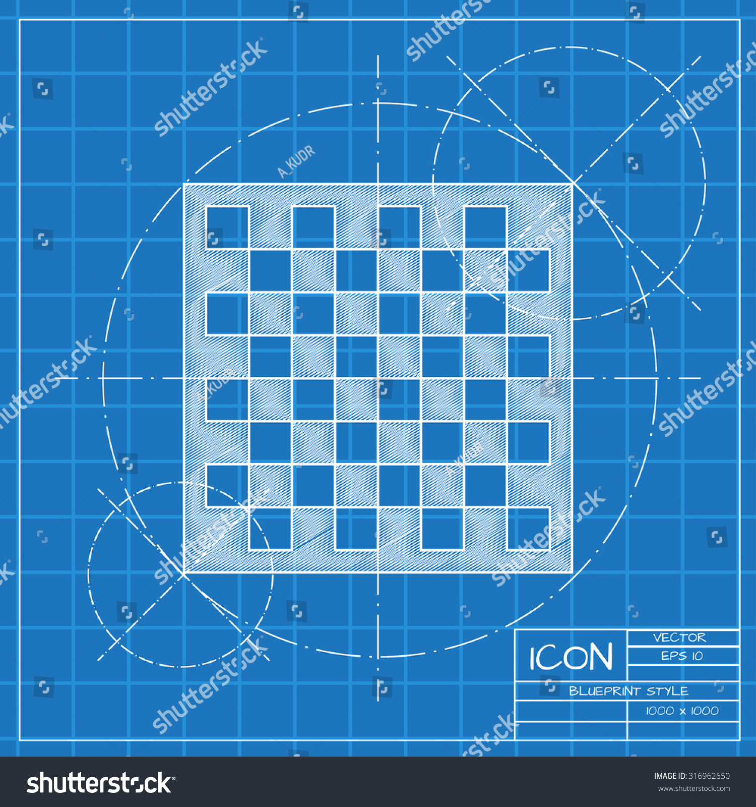 Vector blueprint checkers board icon on stock vector 316962650 vector blueprint checkers board icon on engineer or architect background malvernweather Image collections