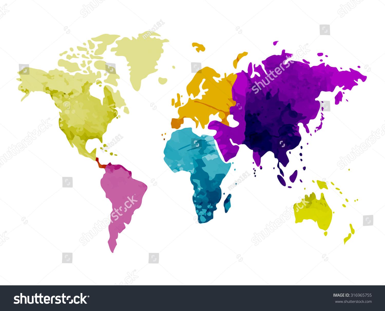 世界地图大洲水彩背景矢量图-符号\/标志,抽象-