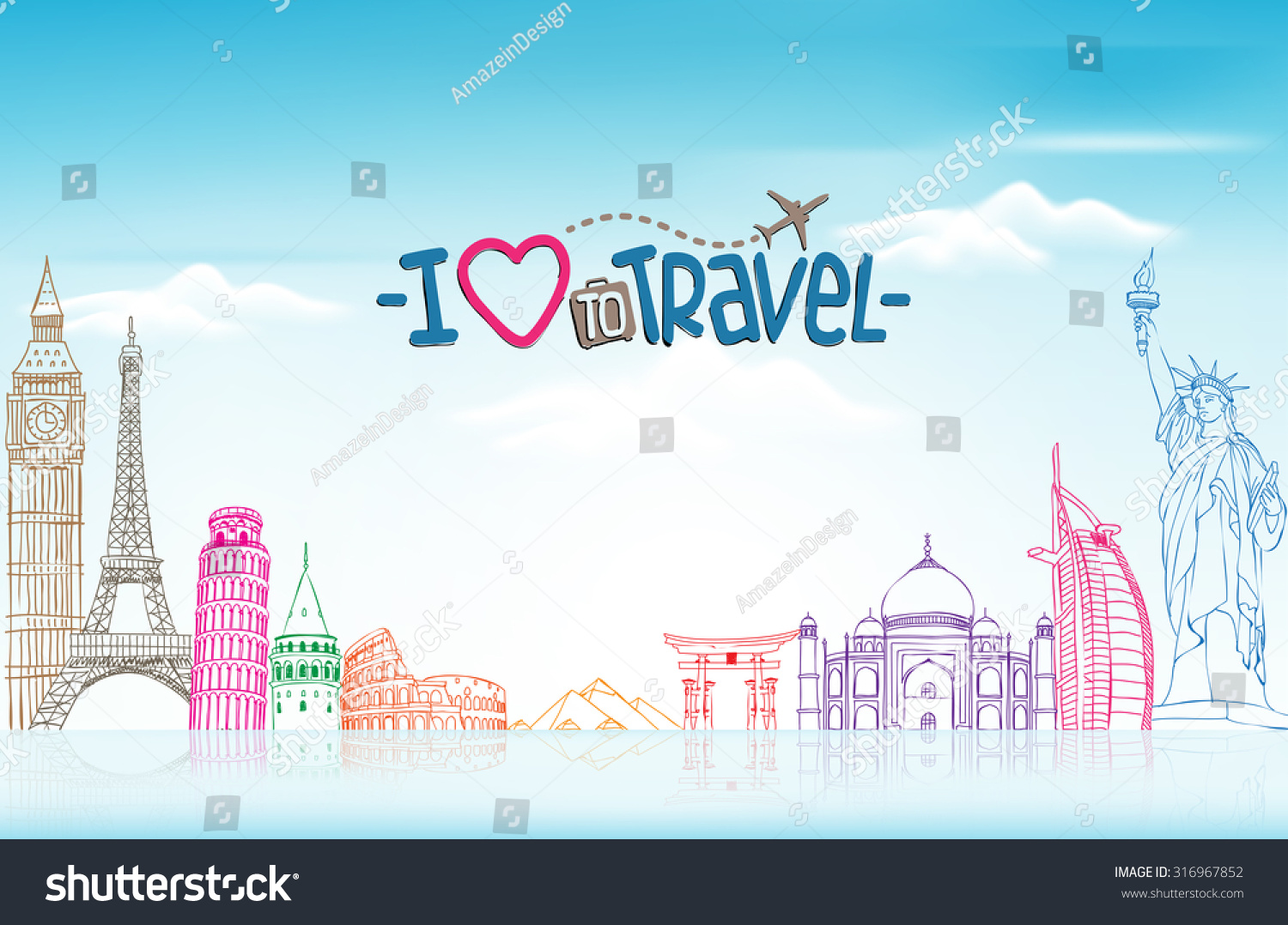 travel tourism background world landmarks stock