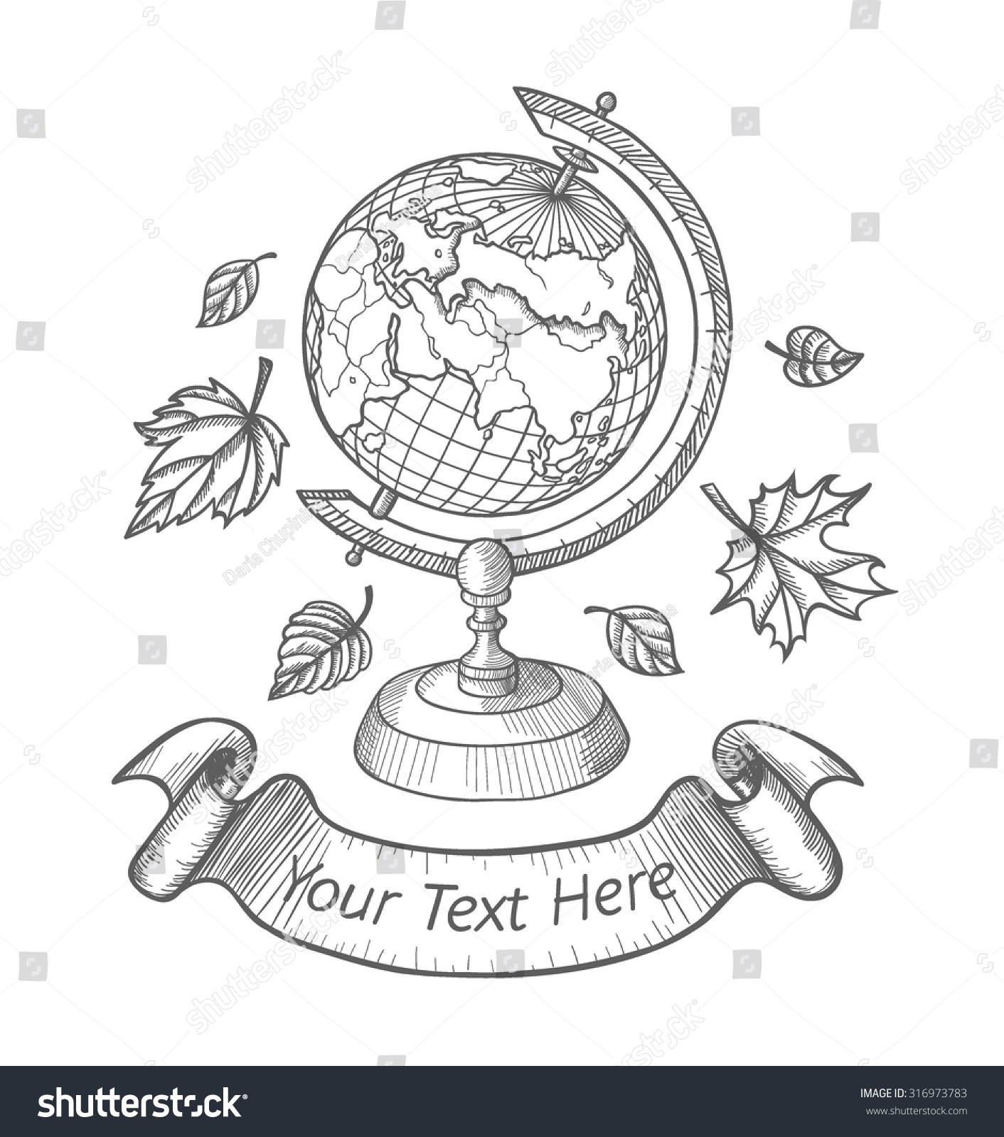 retro vector doodle world globe stand stock vector