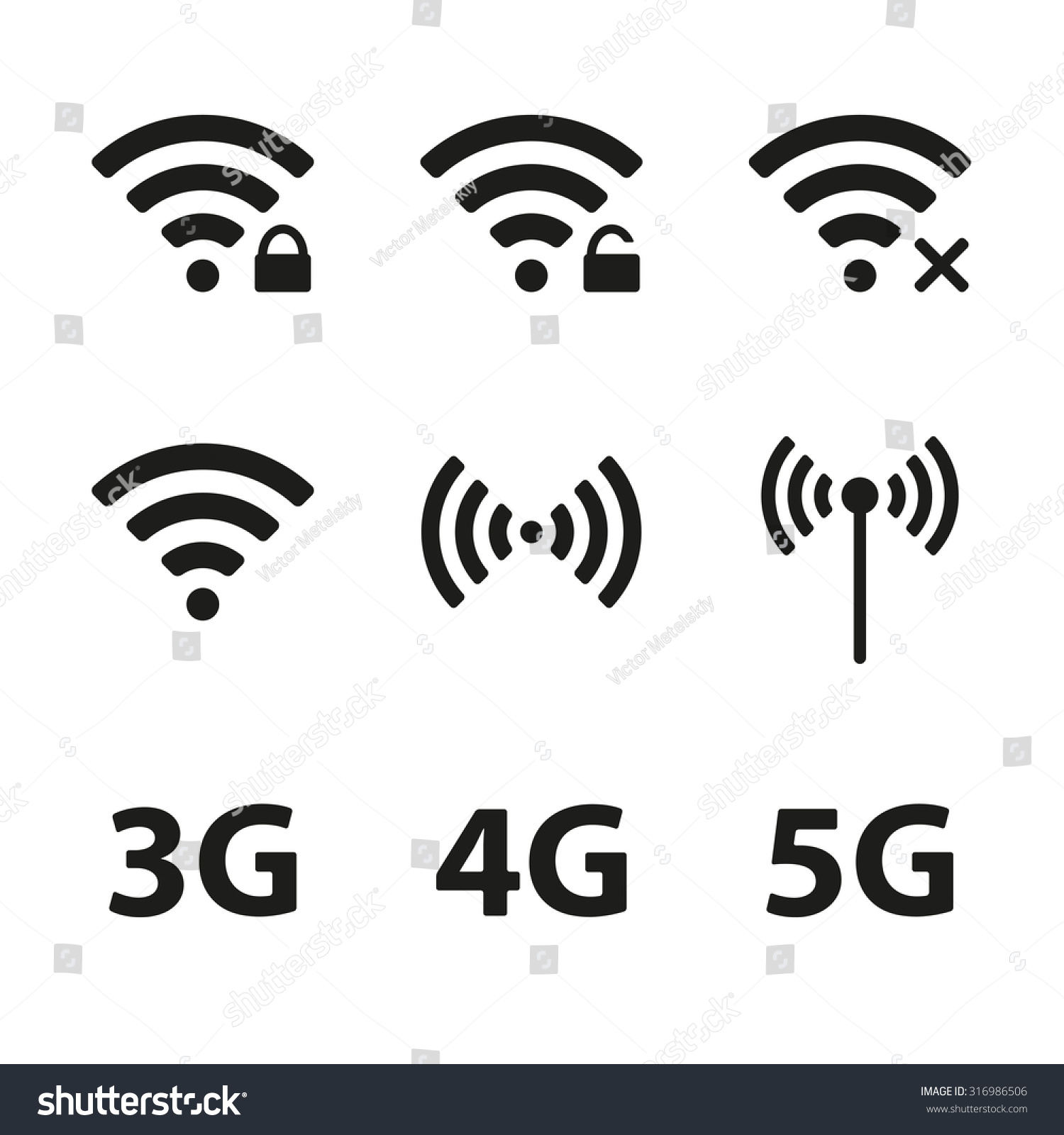 Wireless icon line iconset iconsmind - Wifi And Wireless Icon Set For Remote Internet Access Isolated On White Background Podcast Vector