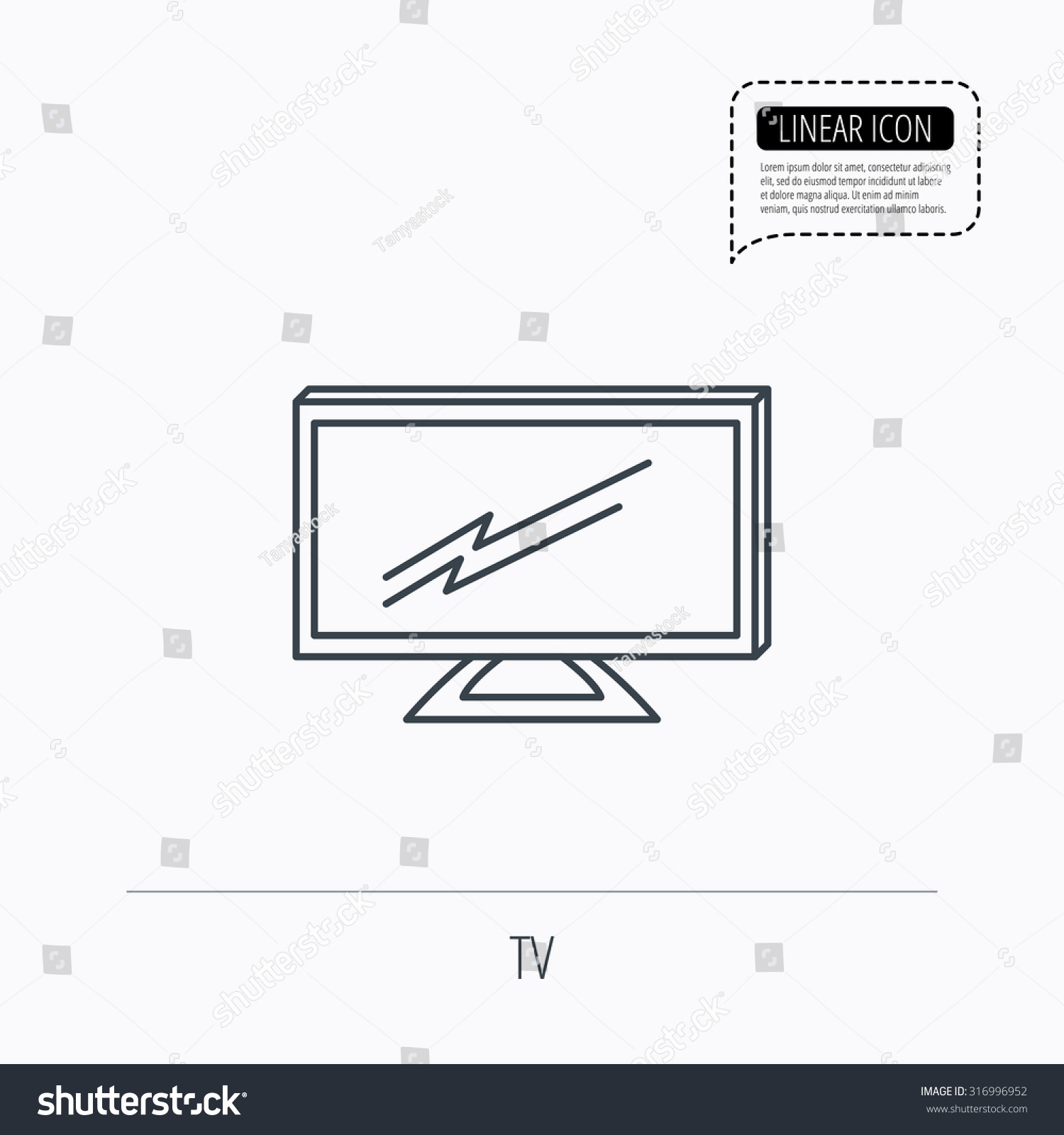 Lcd Tv Icon Led Monitor Sign Stock Vector 316996952 - Shutterstock