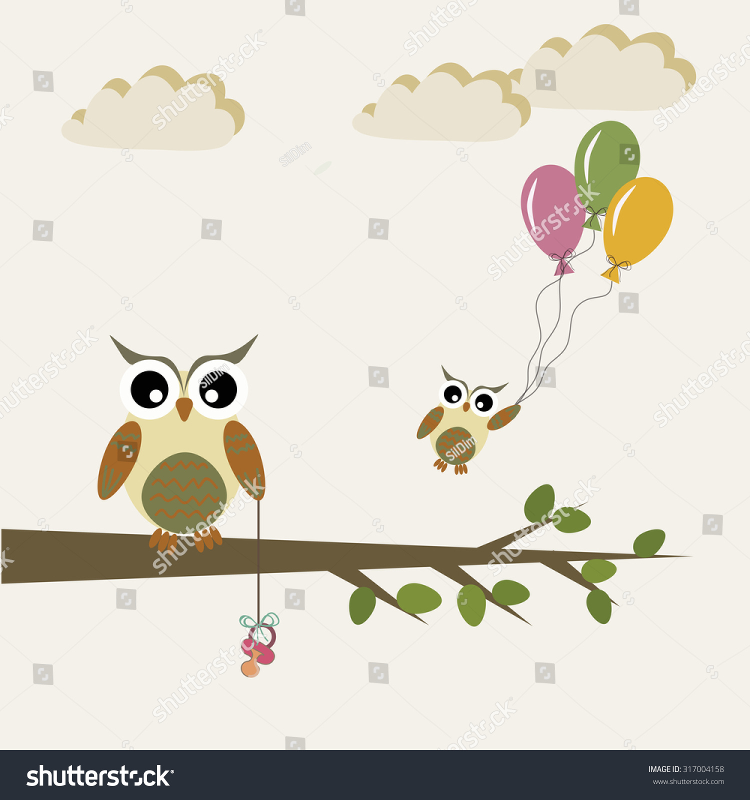 Baby Announcement Card Shower Design Elements With Cute Owls