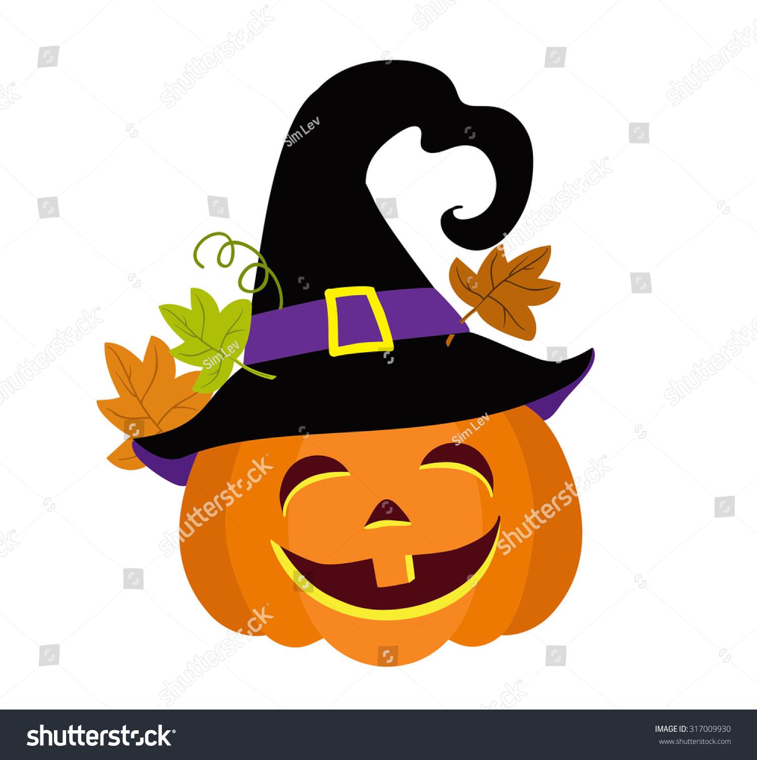 funny halloween pumpkin witches hat vector stock vector 317009930