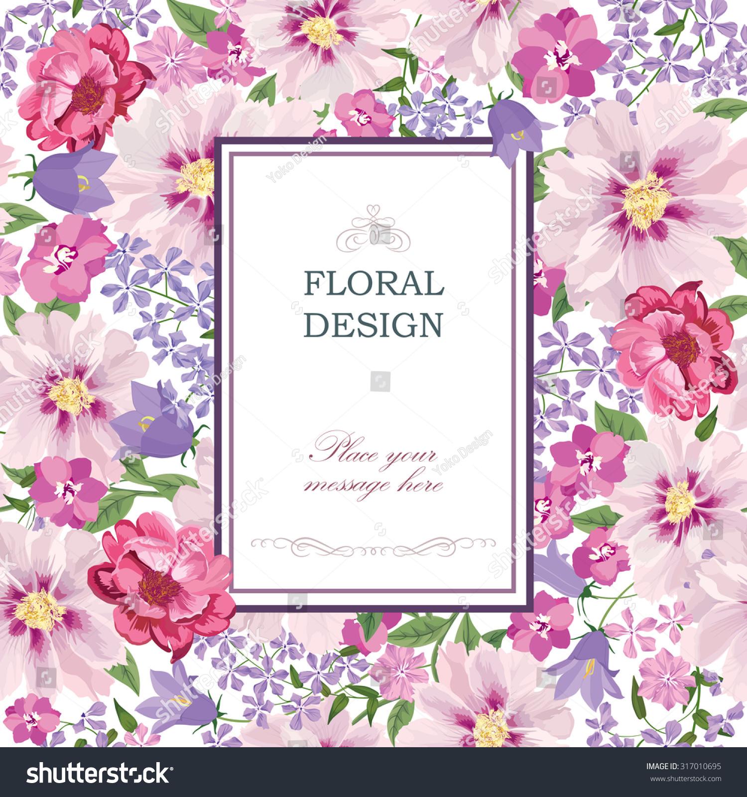 Floral Background Flower Bouquet Vintage Cover Stock Vector ...