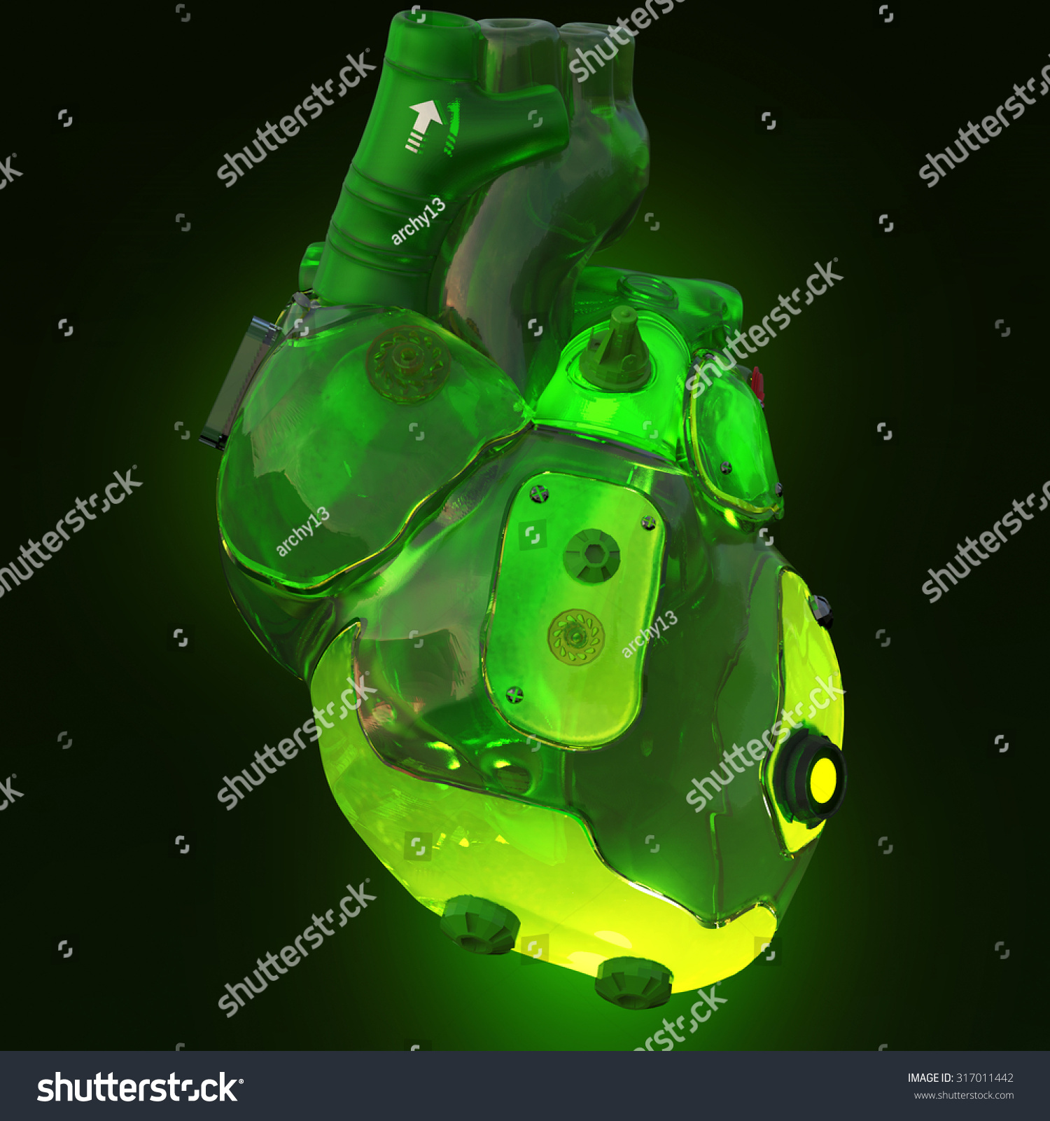 Industrial Light And Magic Render Farm: Green Translucent Toxic Acid Glowing Techno Stock