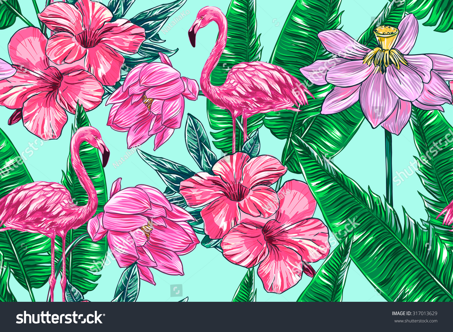 Royalty Free Pink Flamingos Tropical Flowers And 317013629 Stock
