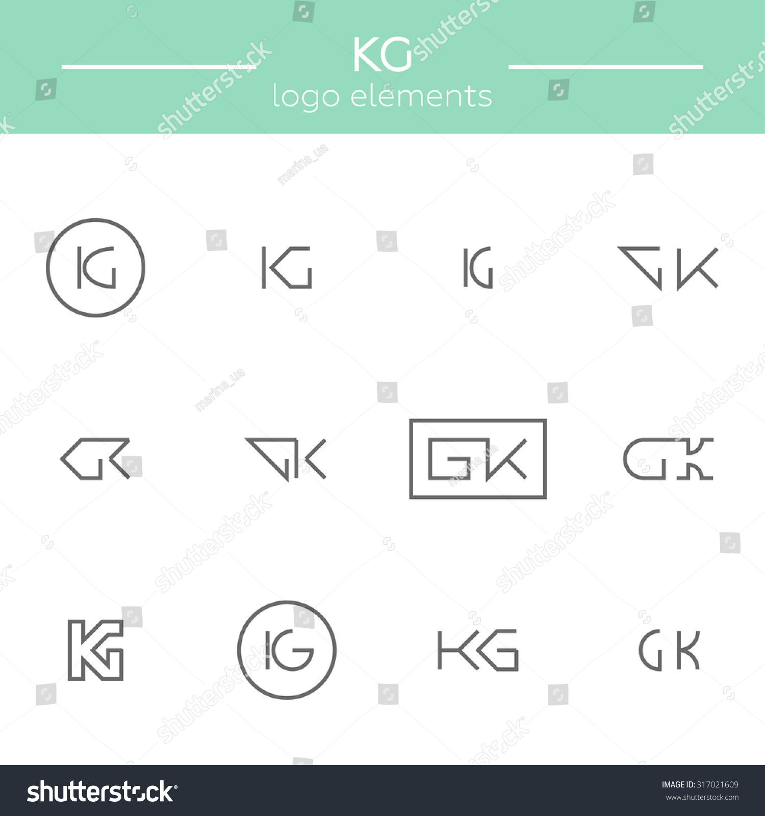 vector monogram of k and g letters template for logo of an architect or other