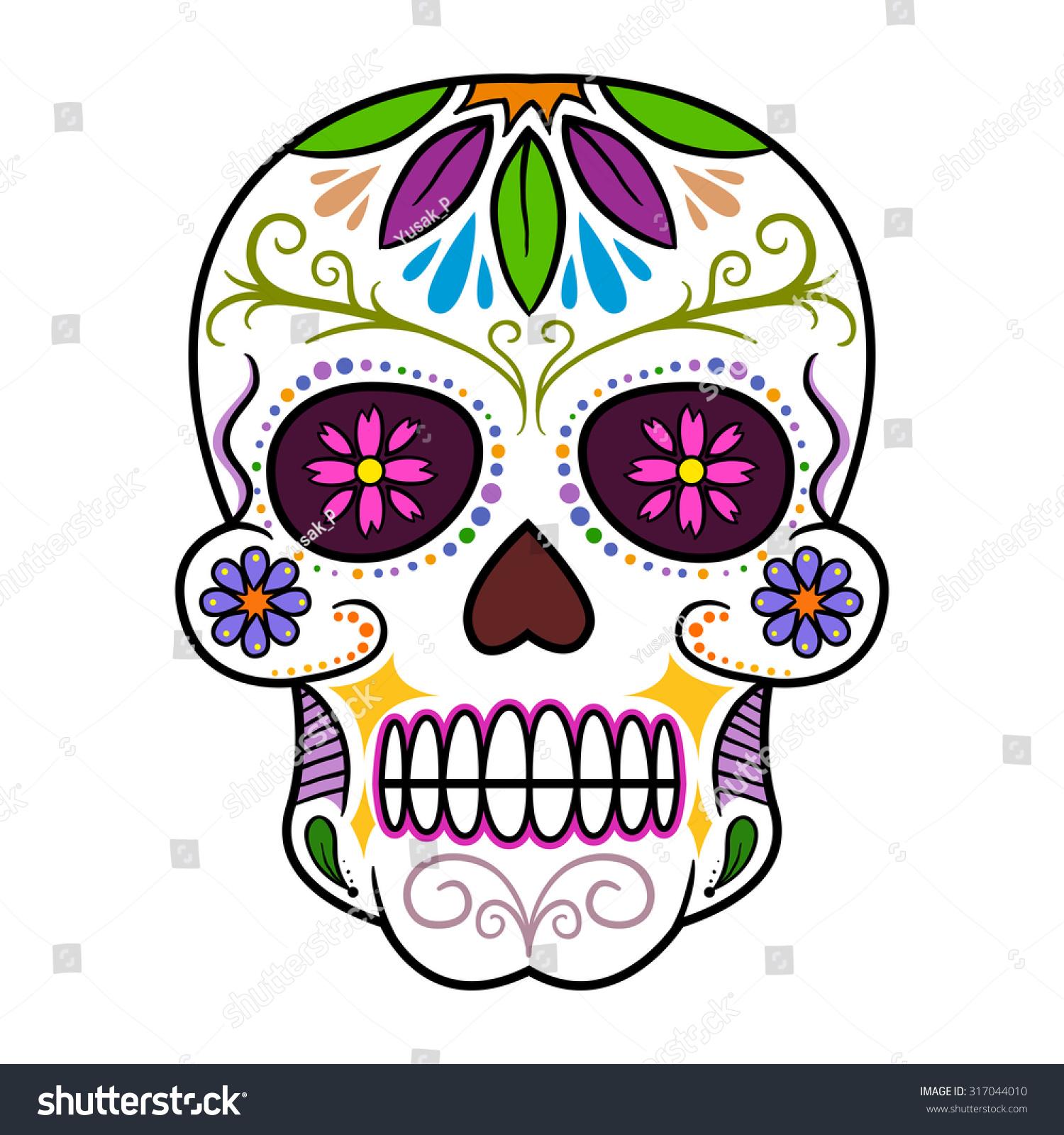 traditional colorful sugar skull art vector stock vector