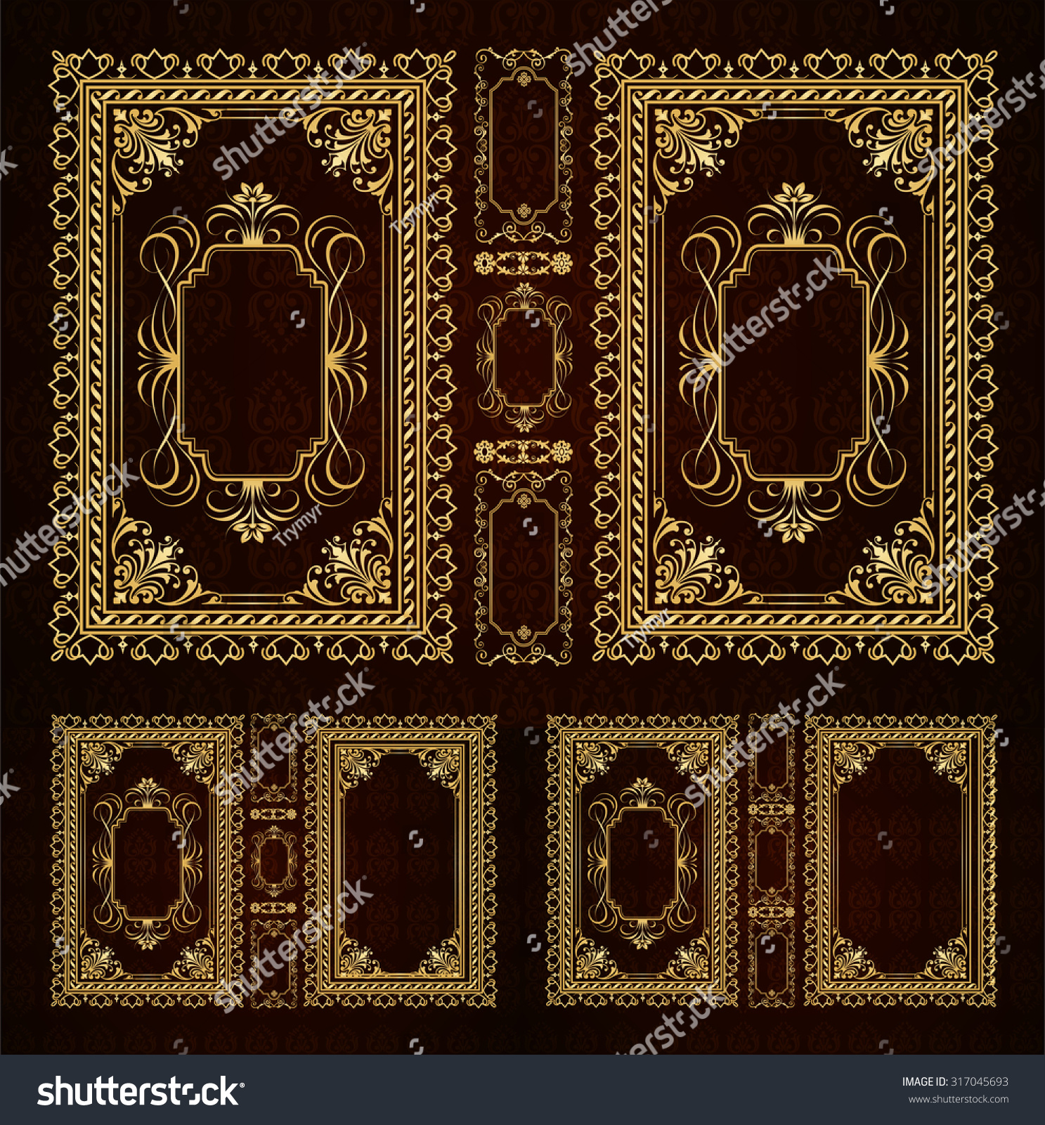 Vintage Decorative Book Cover : Vector classical book cover decorative vintage stock