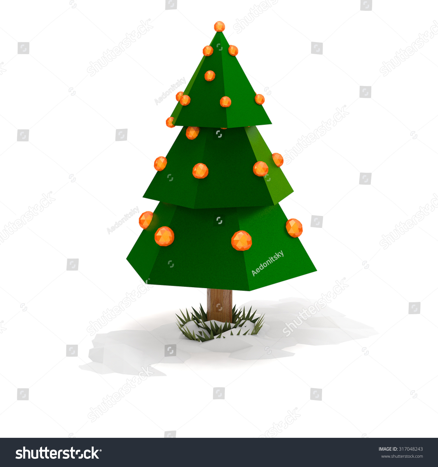 Christmas Tree With Decorations Low-Poly Illustration
