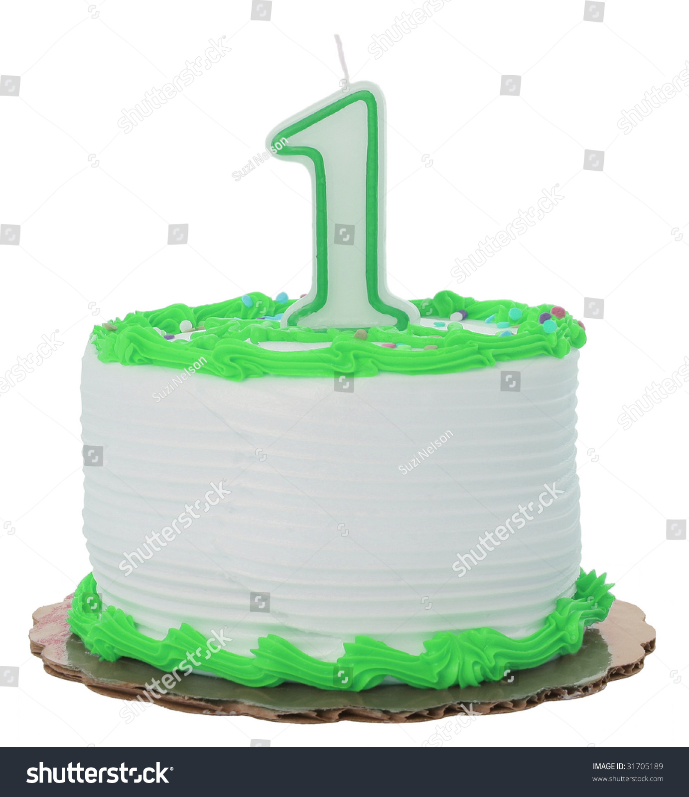 Green Frosted 1st Year Birthday Cake Stock Photo Edit Now 31705189