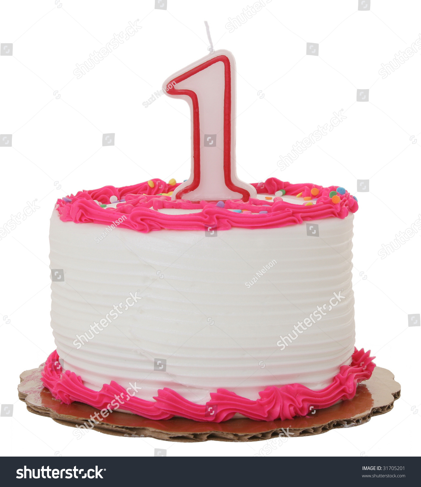 Pink Frosted 1st Year Birthday Cake Stock Photo Edit Now 31705201
