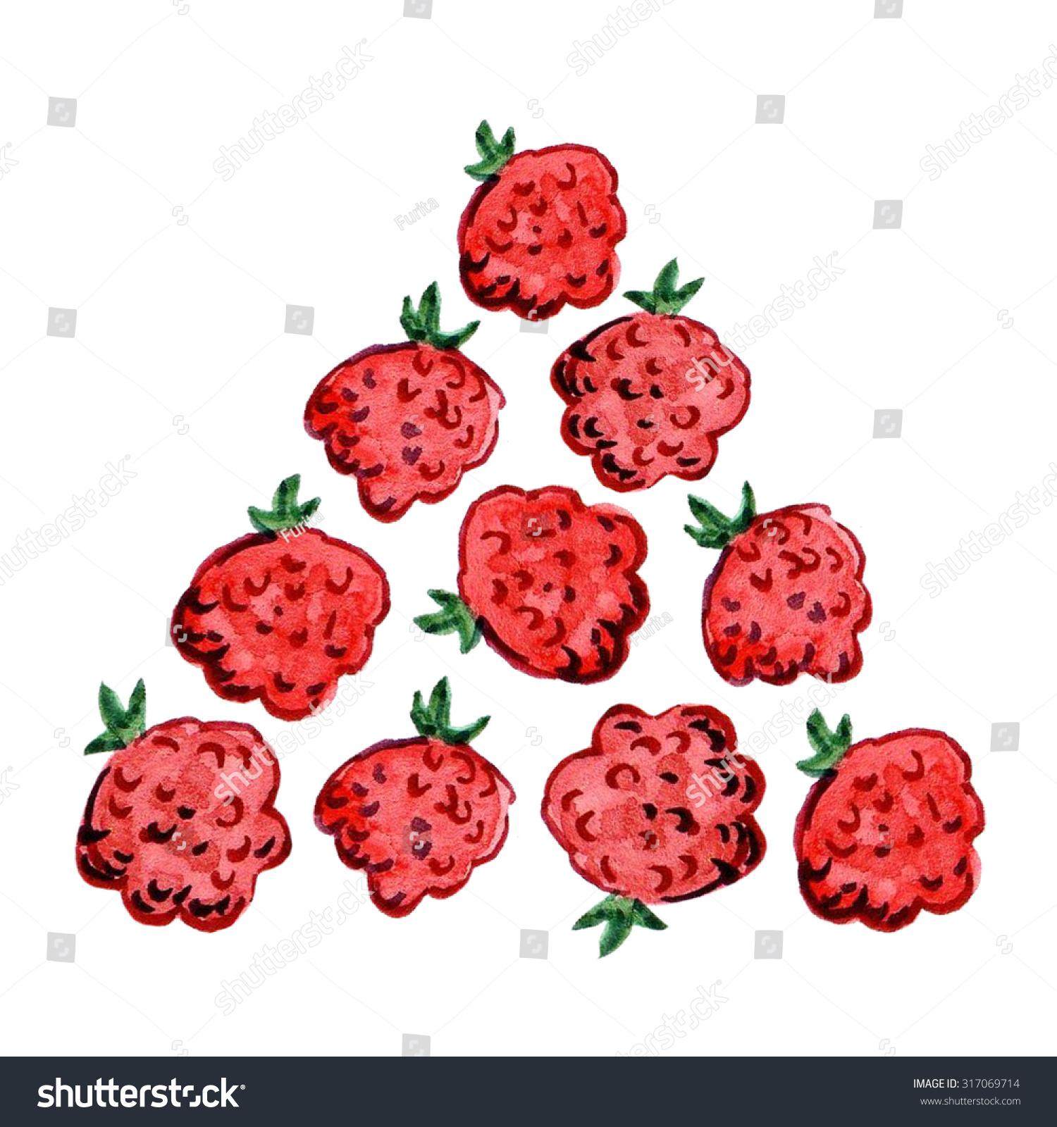 Watercolor Raspberries Elements Greeting Cards Menus Stock