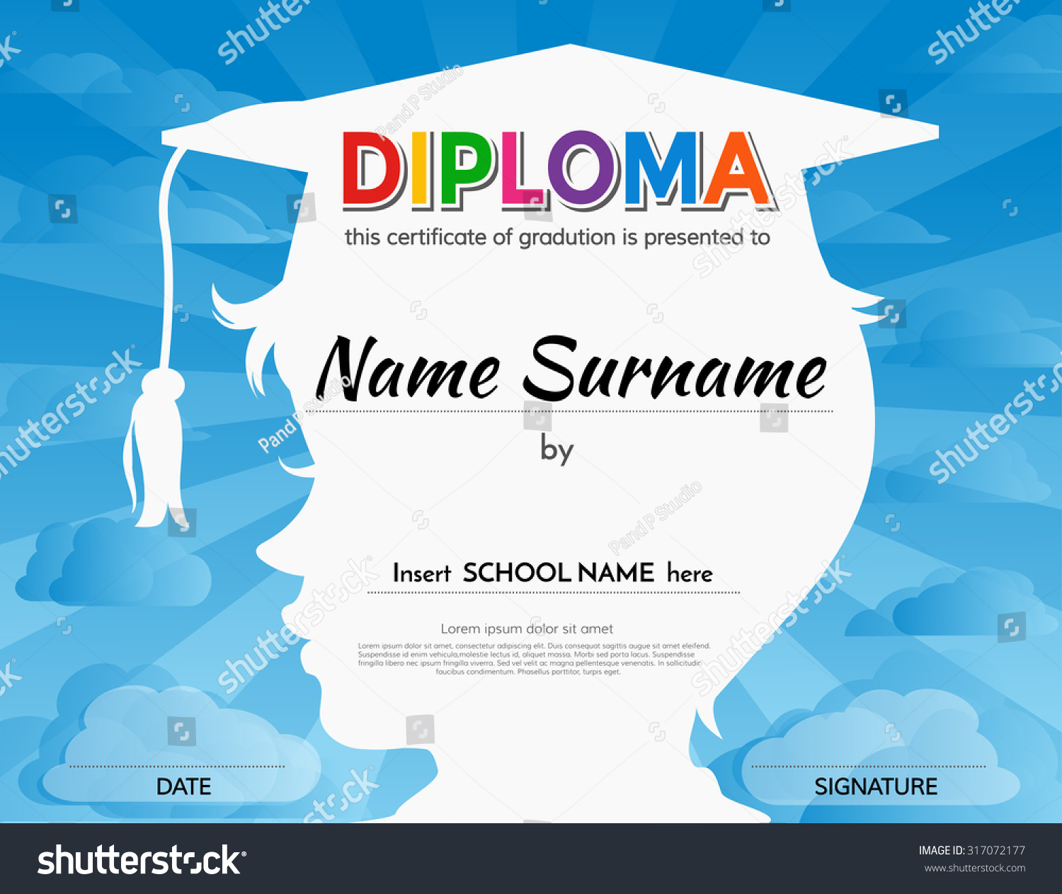 Royalty free certificates kindergarten and 317072177 stock photo certificates kindergarten and elementary school diploma certificate design template background 317072177 yelopaper Image collections