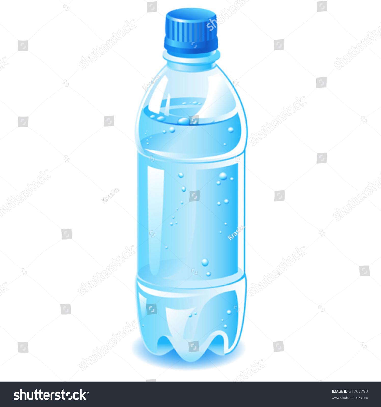 Water Bottle Vector: Vector Plastic Bottle Filled Blue Water Stock Vector