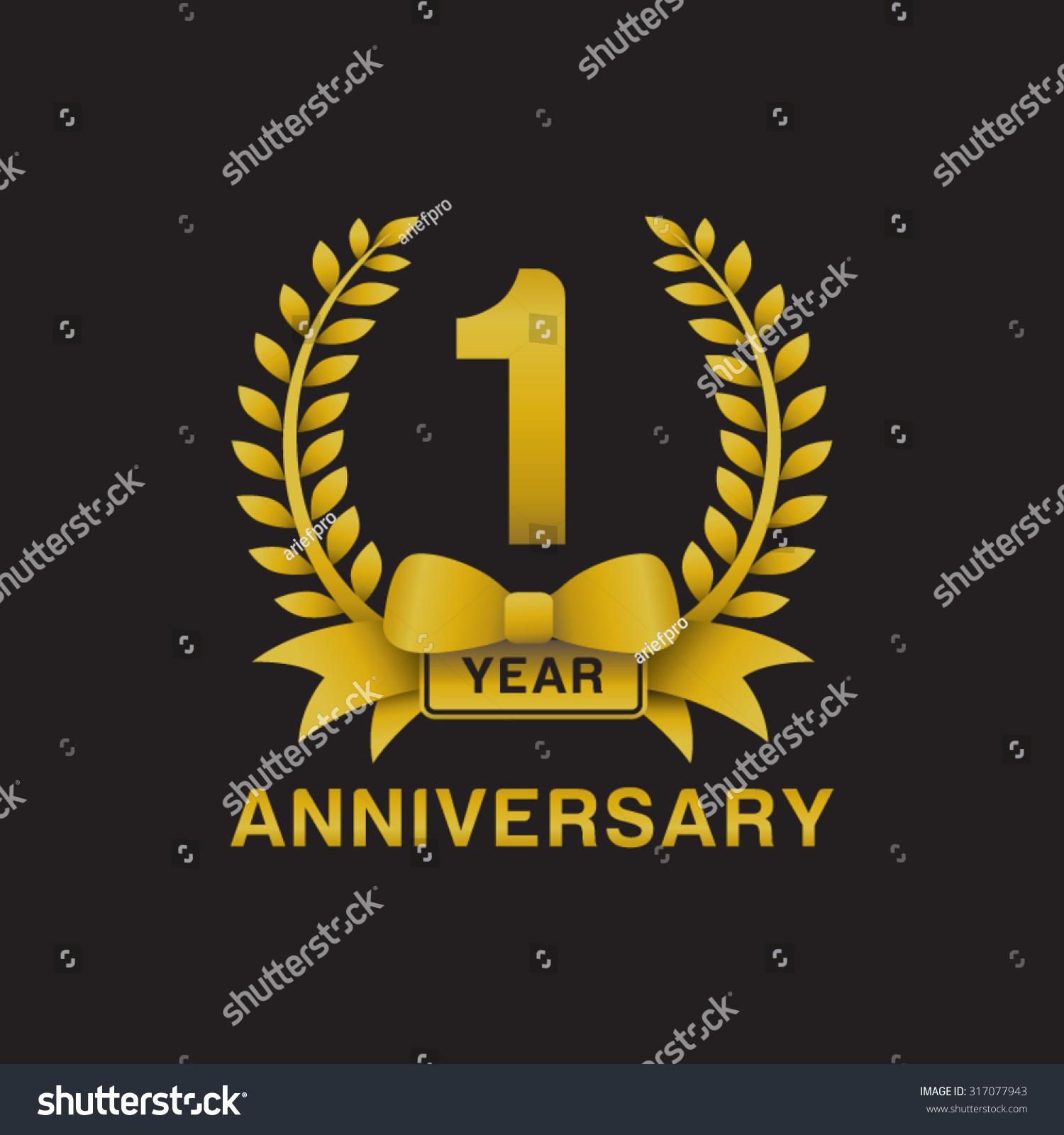 1st Anniversary Golden Wreath Logo Black Background Stock ...