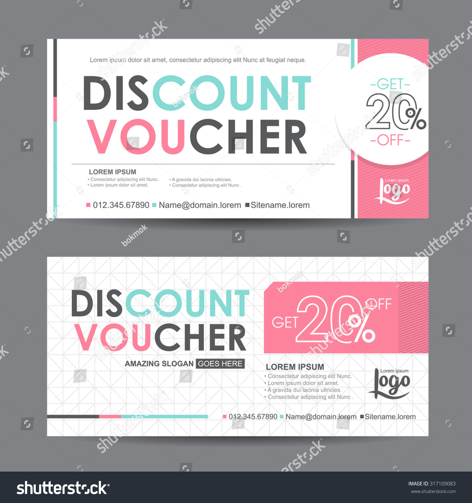 Discount Voucher Template Colorful Patterncute Gift Stock Vector