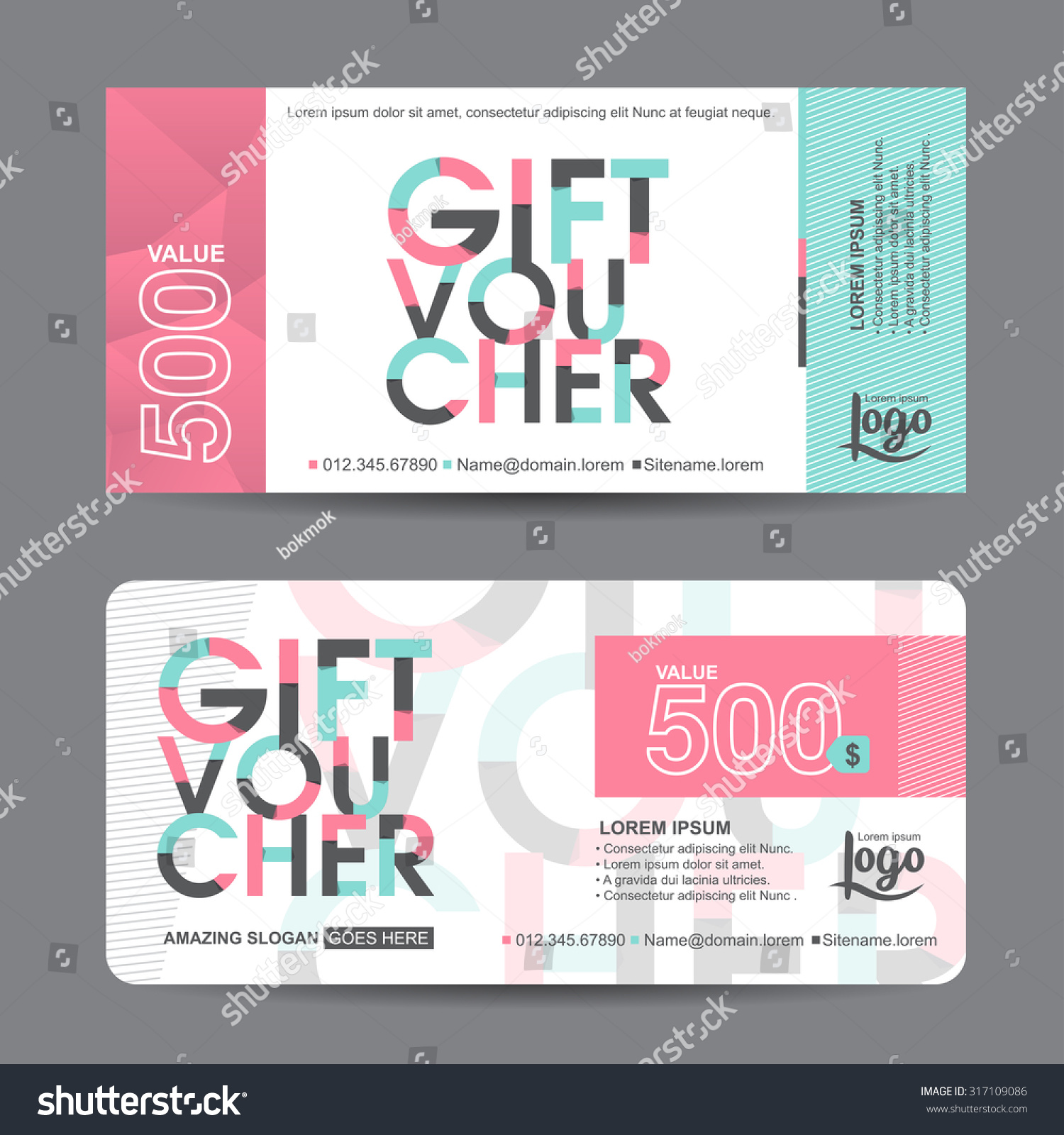 Gift voucher template colorful patterncute gift stock for Create a coupon template free