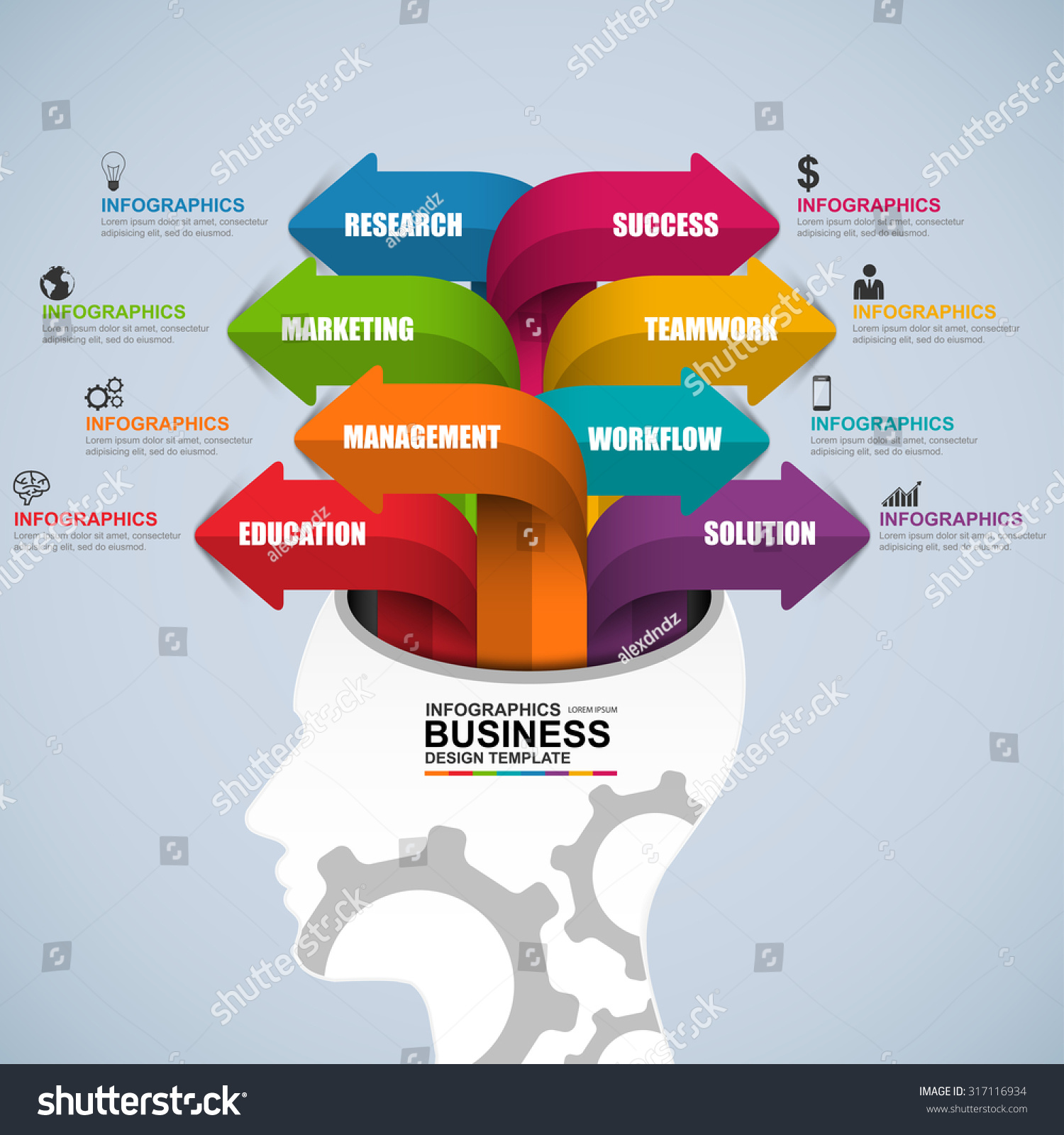 Abstract 3d Digital Business Brain Infographic Stock
