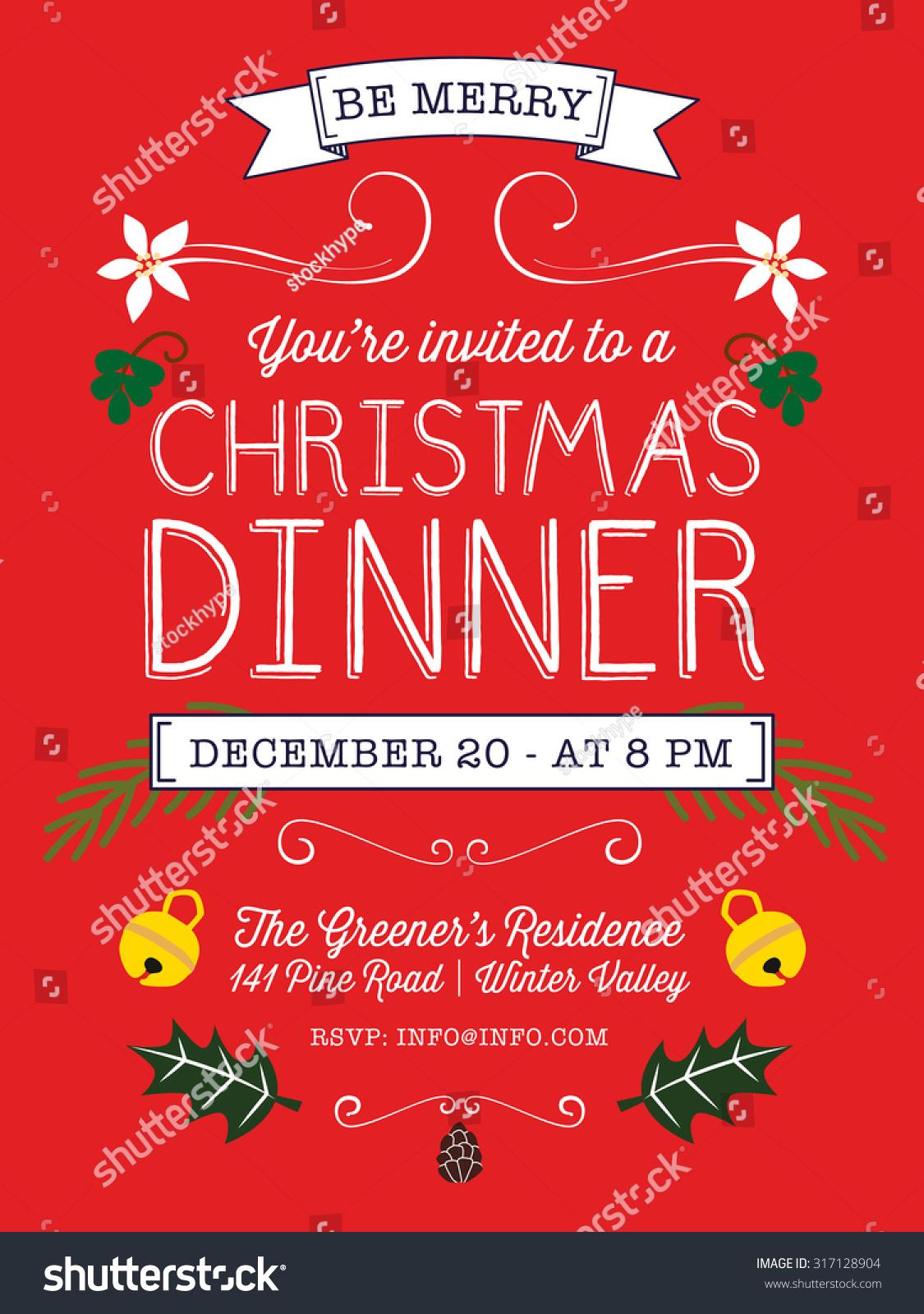 Christmas Dinner Invitation Flyer On Red Stock Vector (Royalty Free ...