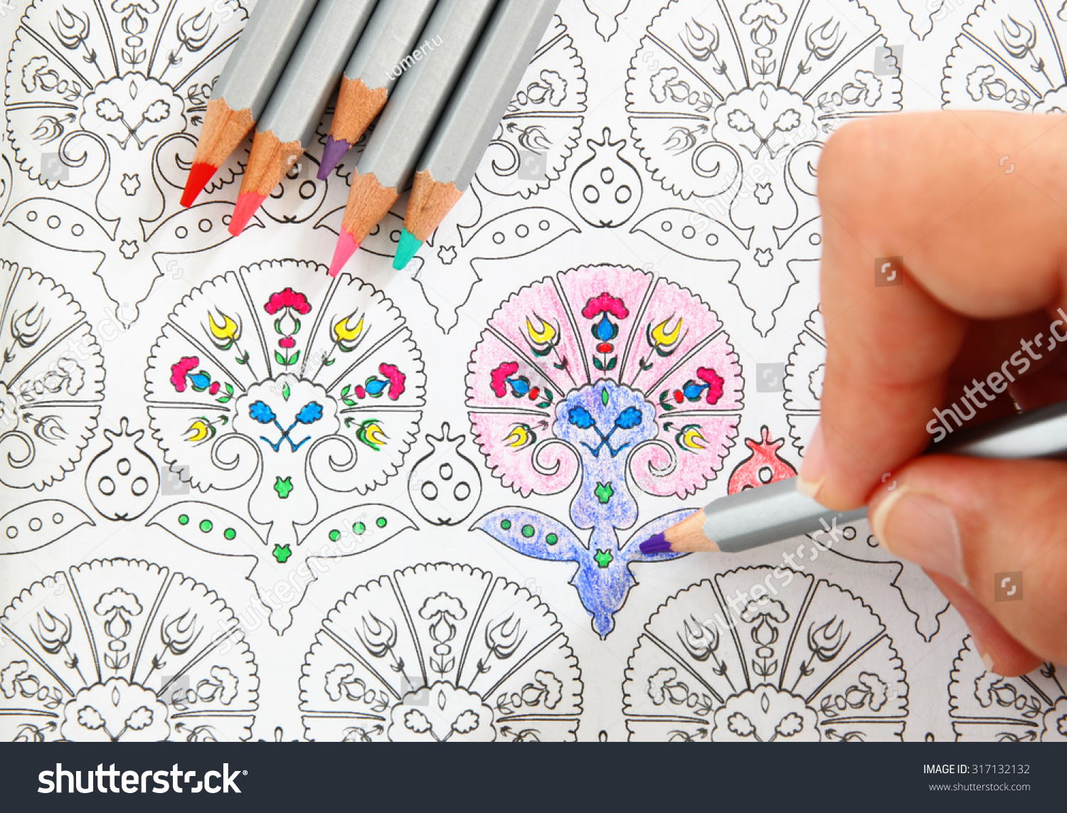 Image Of Woman Coloring Adult Book Trend For Stress Relief Top View