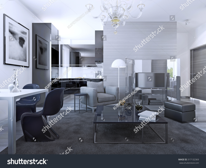 Contemporary Living Room Studio Light Grey Royalty Free