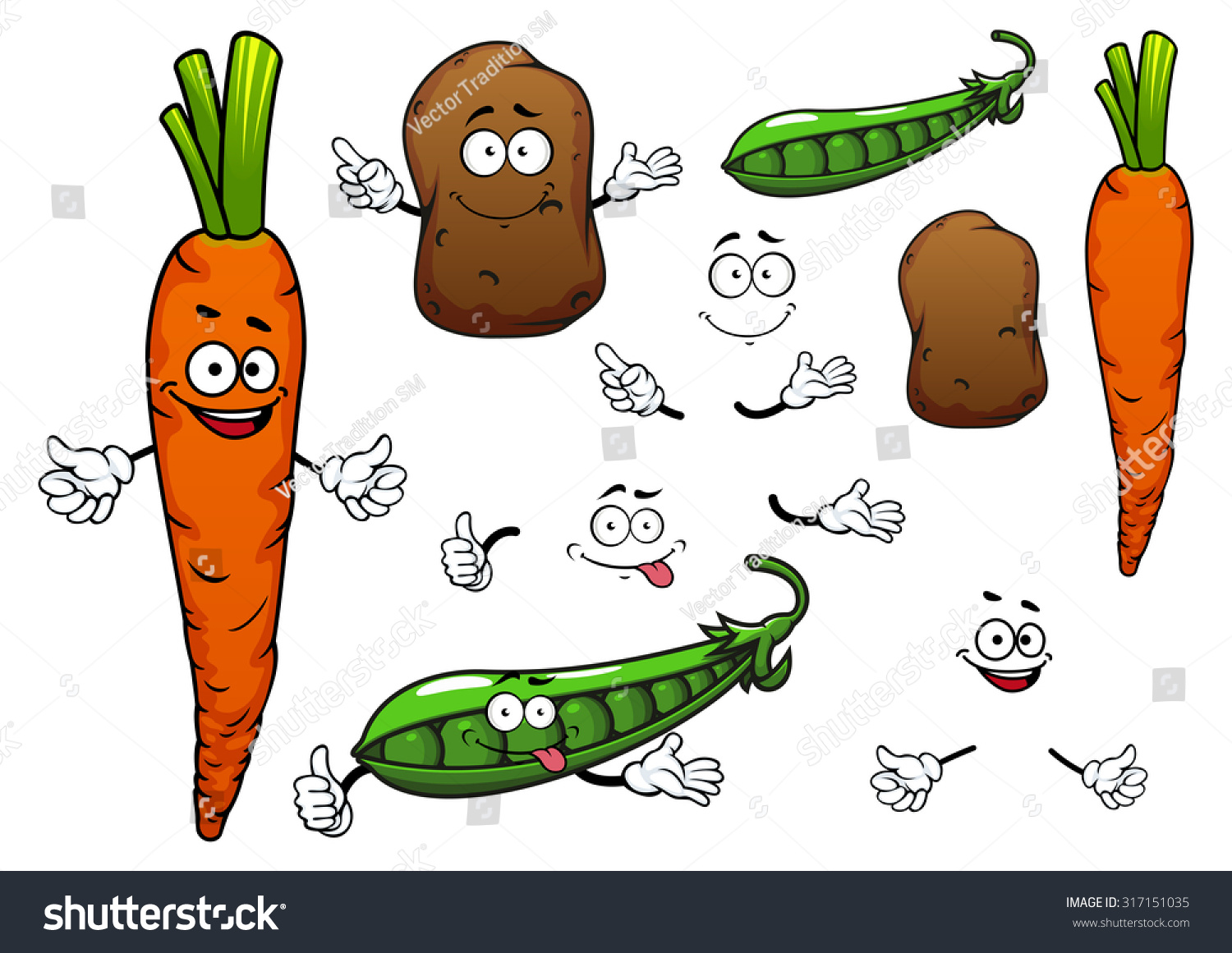 Cartoon peas and carrots