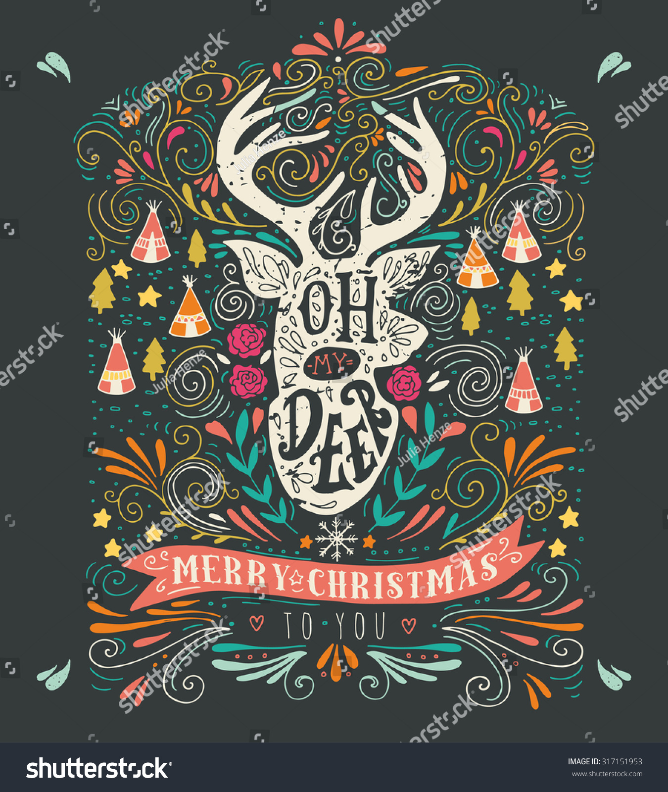 merry christmas vintage hand drawn illustration with a reindeer silhouette