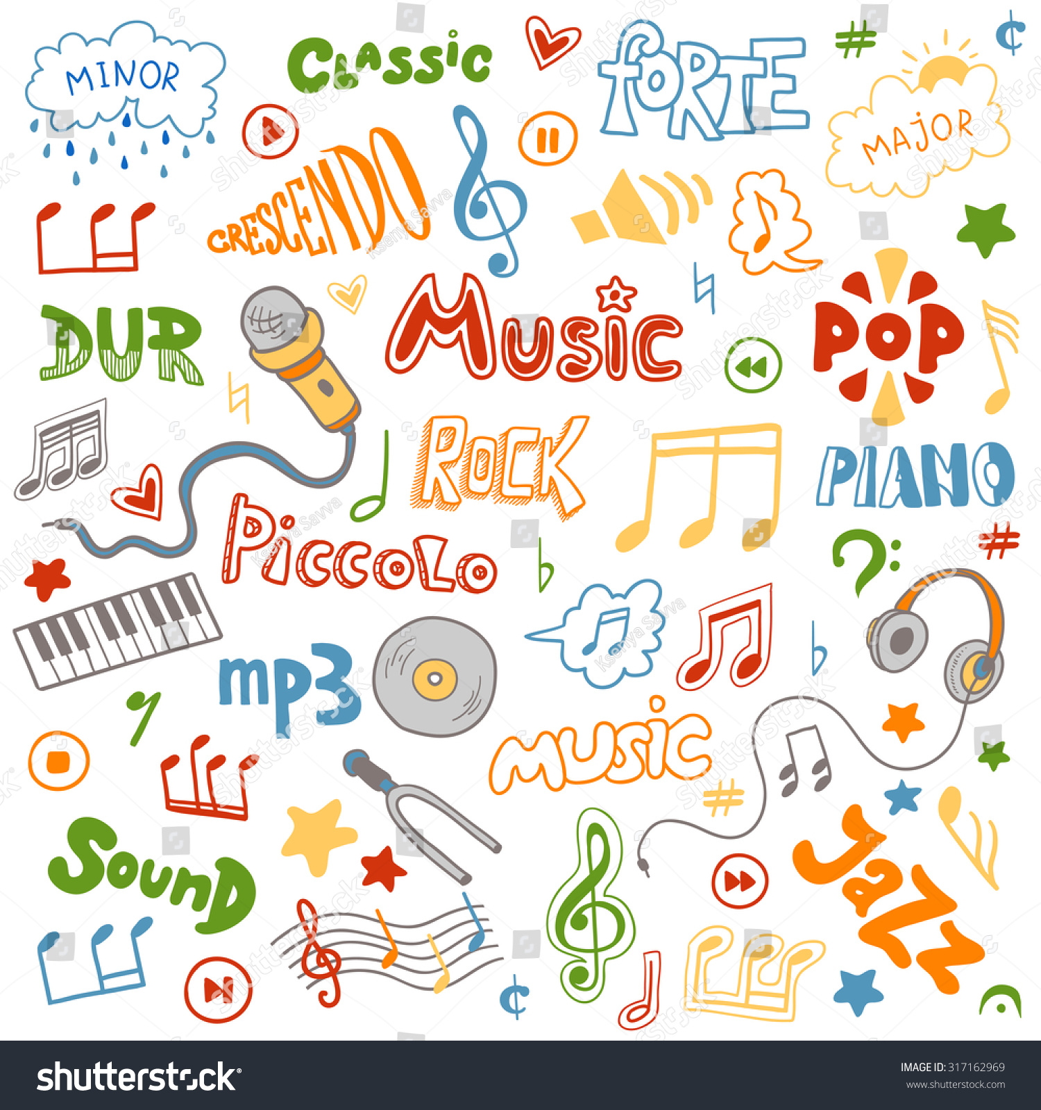 Musical symbol crossword images symbol and sign ideas vector set hand drawn doodles on stock vector 317162969 shutterstock vector set of hand drawn doodles buycottarizona