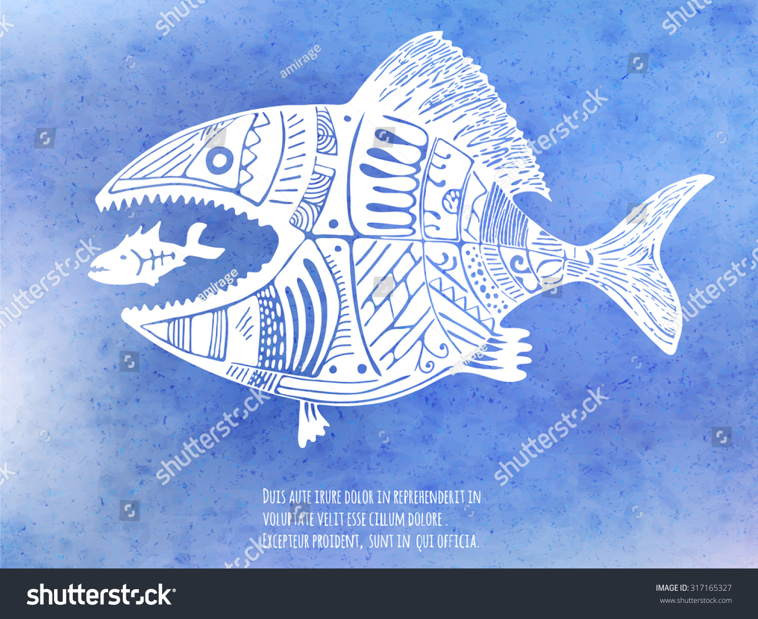 Big fish eat little fish hand stock vector royalty free 317165327 big fish eat little fish hand drawn vector illustration on the blue watercolor texture publicscrutiny Image collections